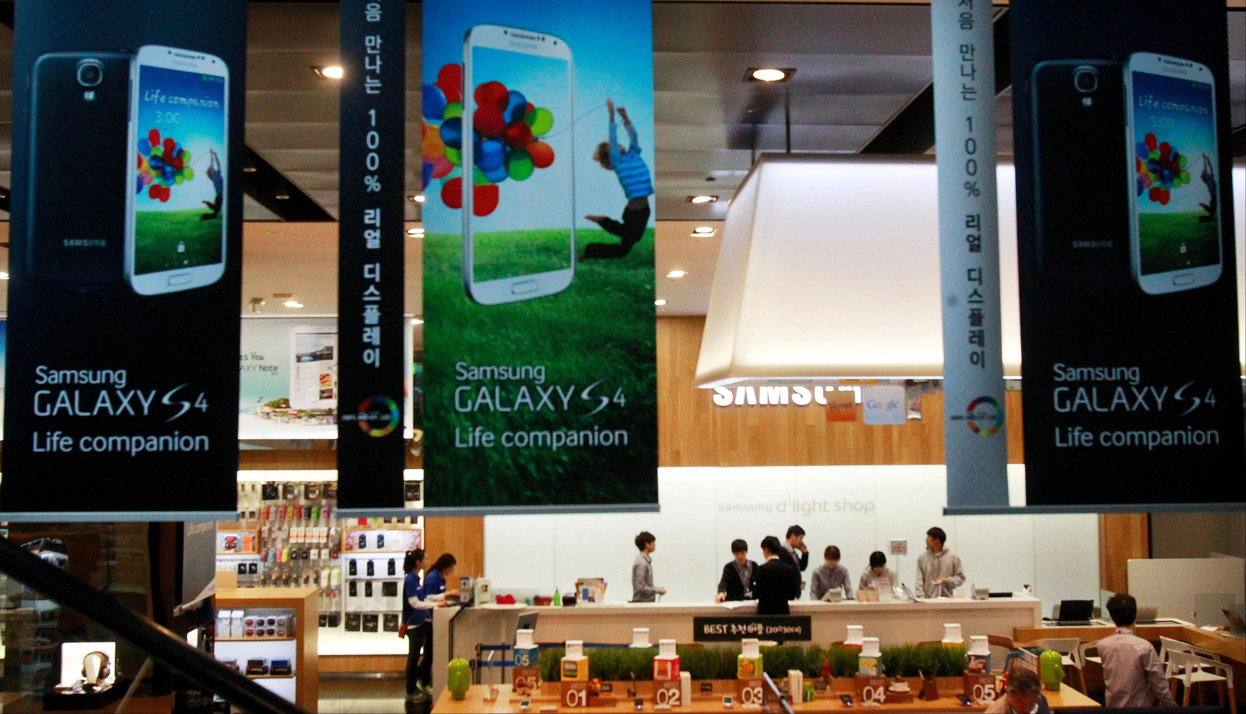 Samsung Electronics Co. said Friday its first-quarter net income jumped to a record high because sales growth in smartphones continued even before the launch of the Galaxy S4 during a typically slow season for the electronics market.