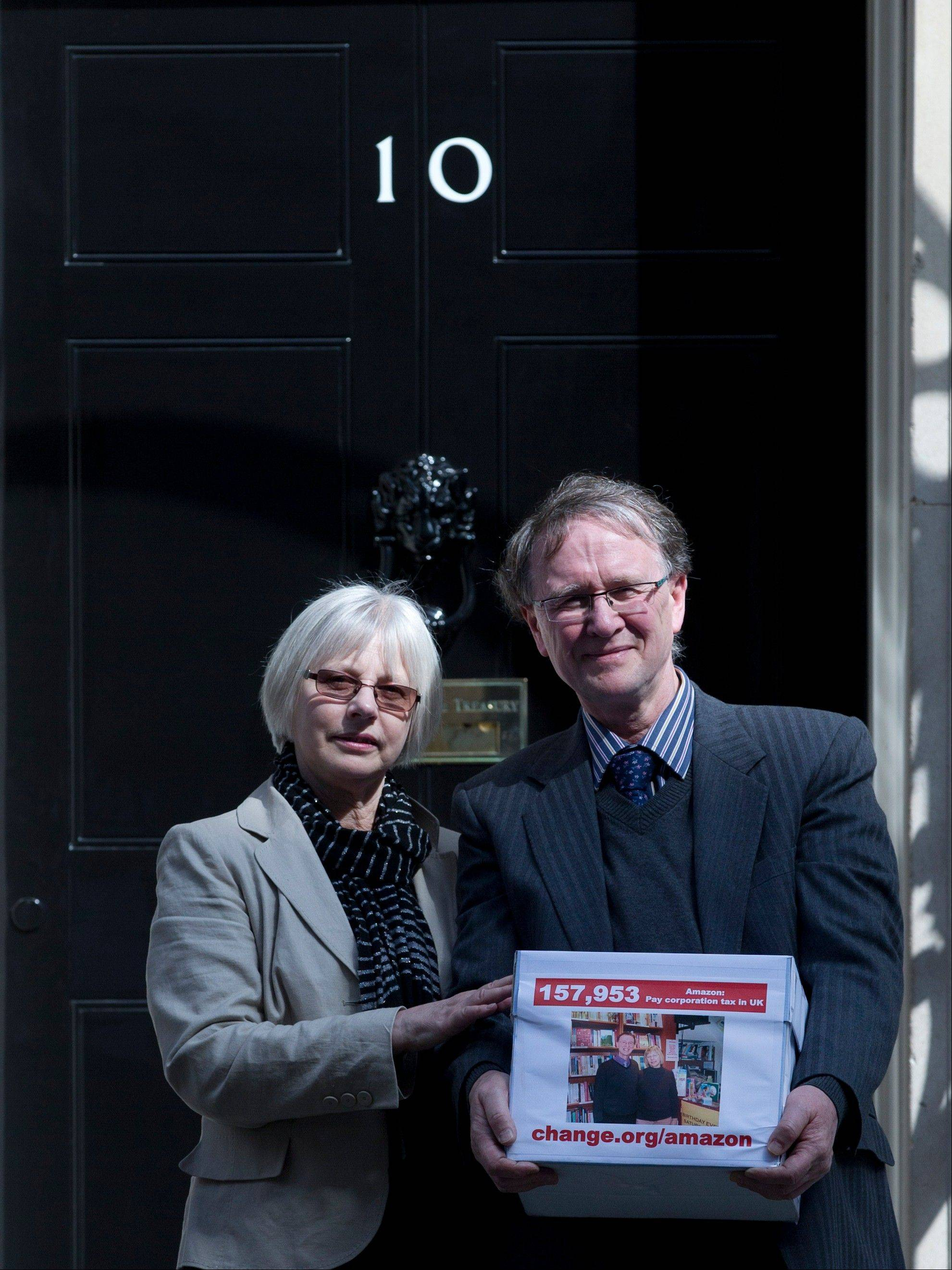 Independent bookshop owners Frances Smith and her husband, Keith, present a petition Wednesday to 10 Downing Street in London, calling for Internet shopping giant Amazon to pay British corporation tax. Internet shopping and how and where to tax is provoking lawmakers across the globe. In the United States tax-free shopping on the Internet could be in jeopardy under a bill making its way through the Senate. The bill would empower states to require online retailers to collect state and local sales taxes for purchases made over the Internet.