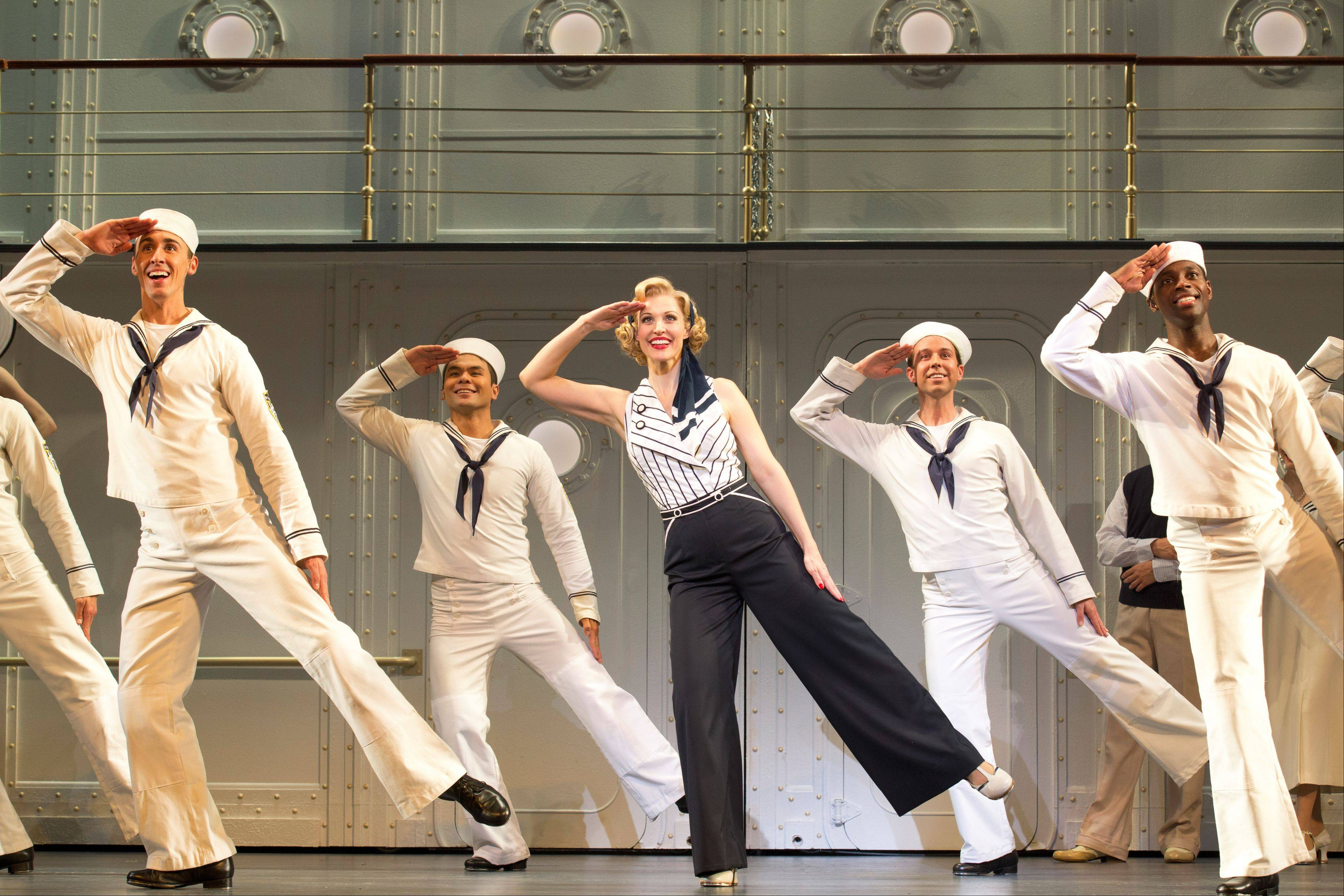 "Reno Sweeney (Rachel York, center) leads the company in the tap-happy title number of ""Anything Goes,"" now on tour at the Cadillac Palace Theatre in Chicago through Sunday, May 5."