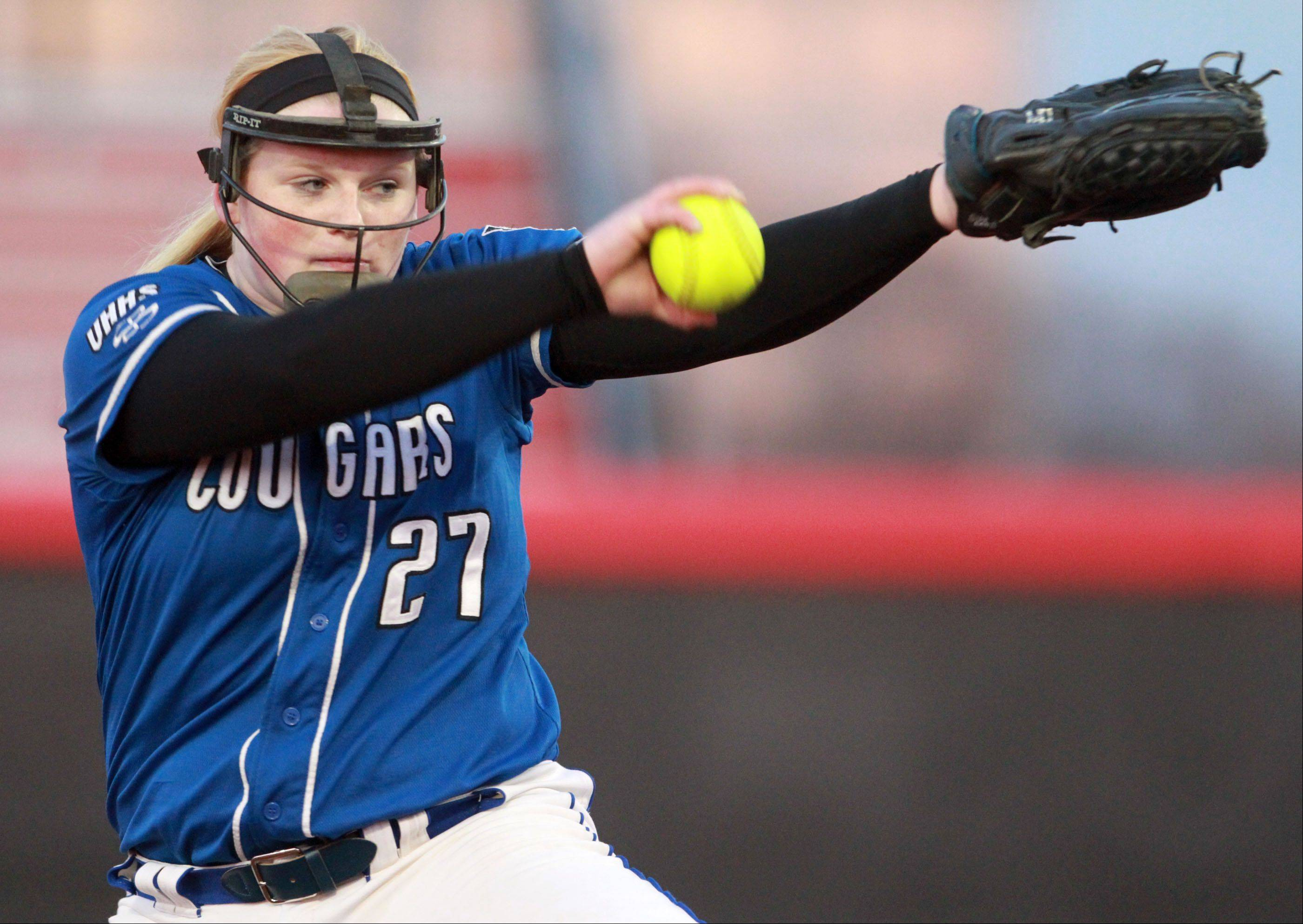 Vernon Hills' pitcher Jenn Claussen against Stevenson at The Ballpark at Rosemont on Friday.