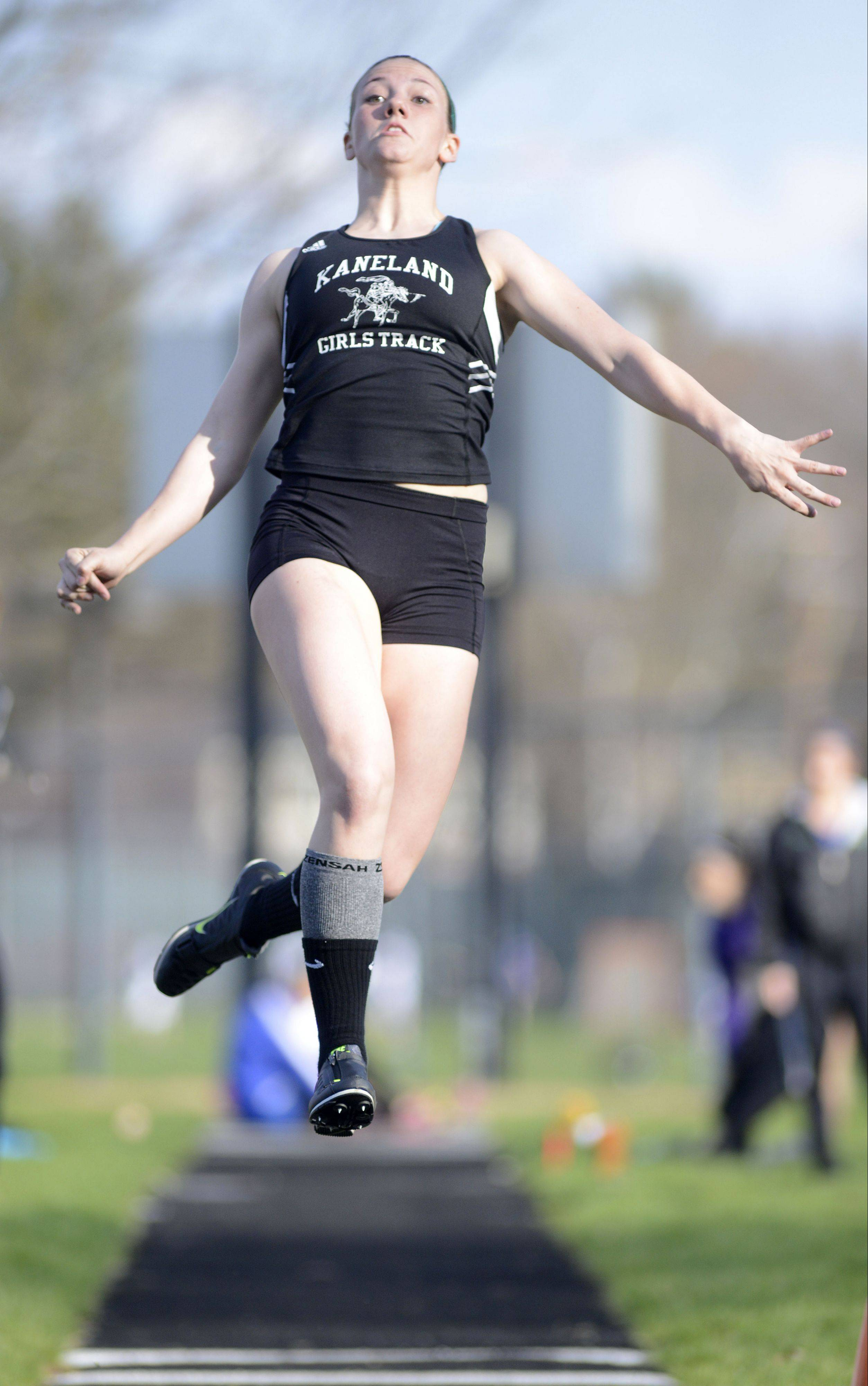 Kaneland's Lauren Zick competes in the long jump Friday in Geneva.