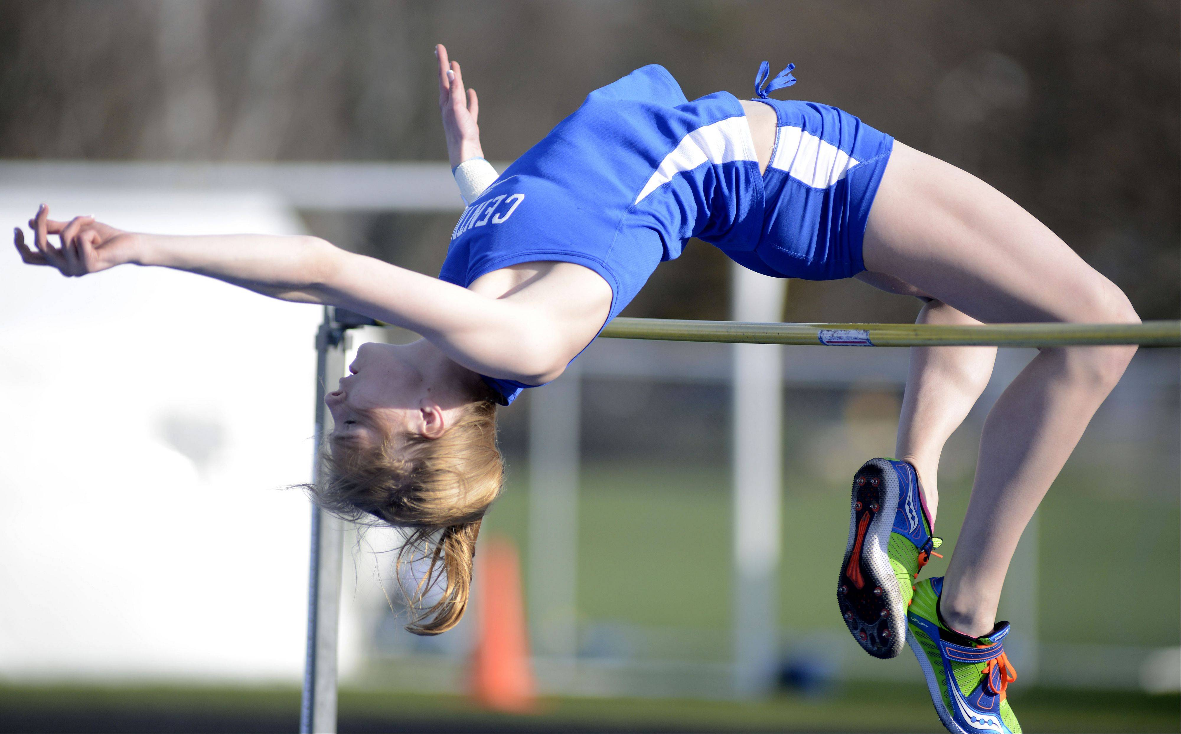 Burlington Central's Katie Trupp in the high jump at the Kane County Invitational track in Geneva meet on Friday, April 26.