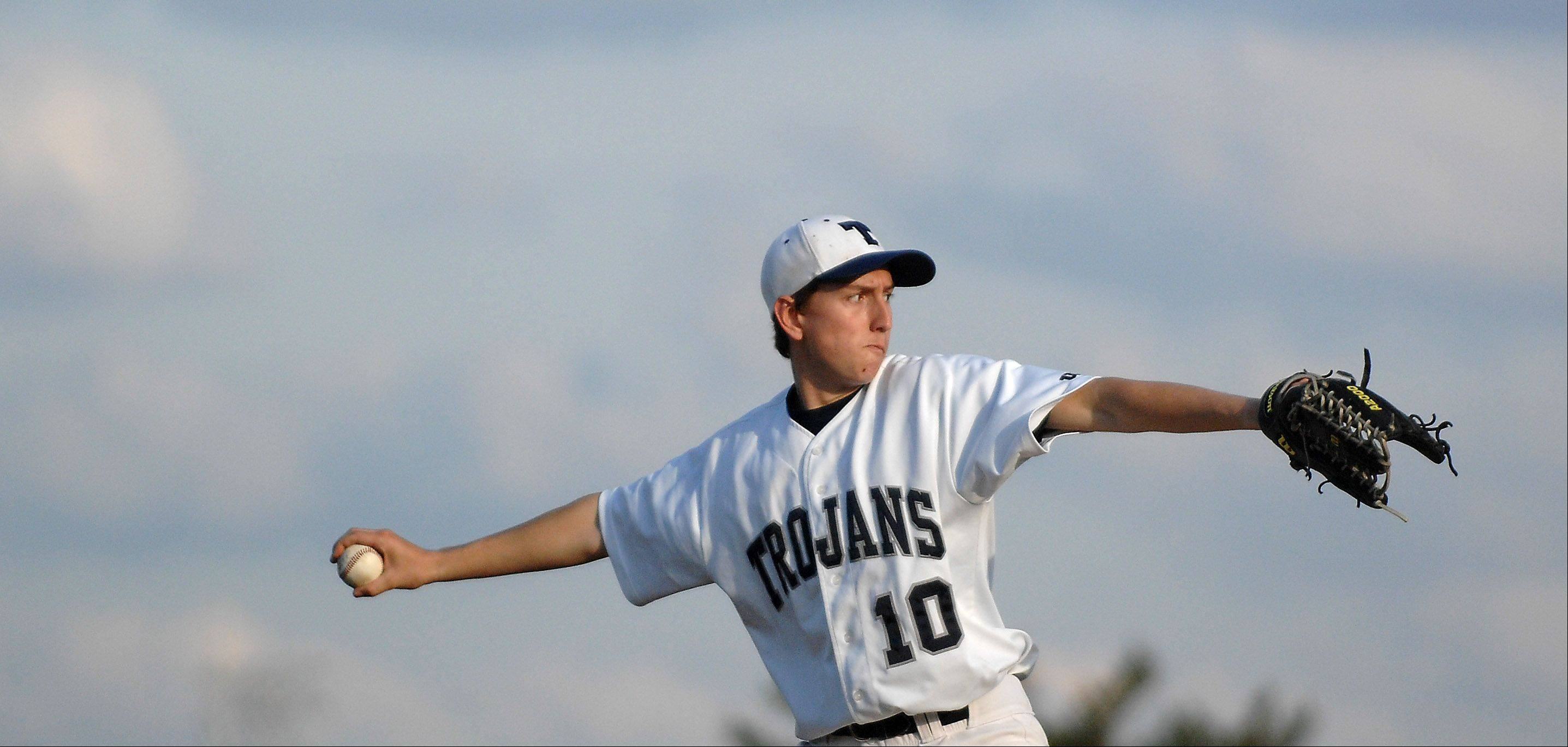 Cary-Grove's Brandon McCumber delivers a pitch against Jacobs during Friday's game in Cary.