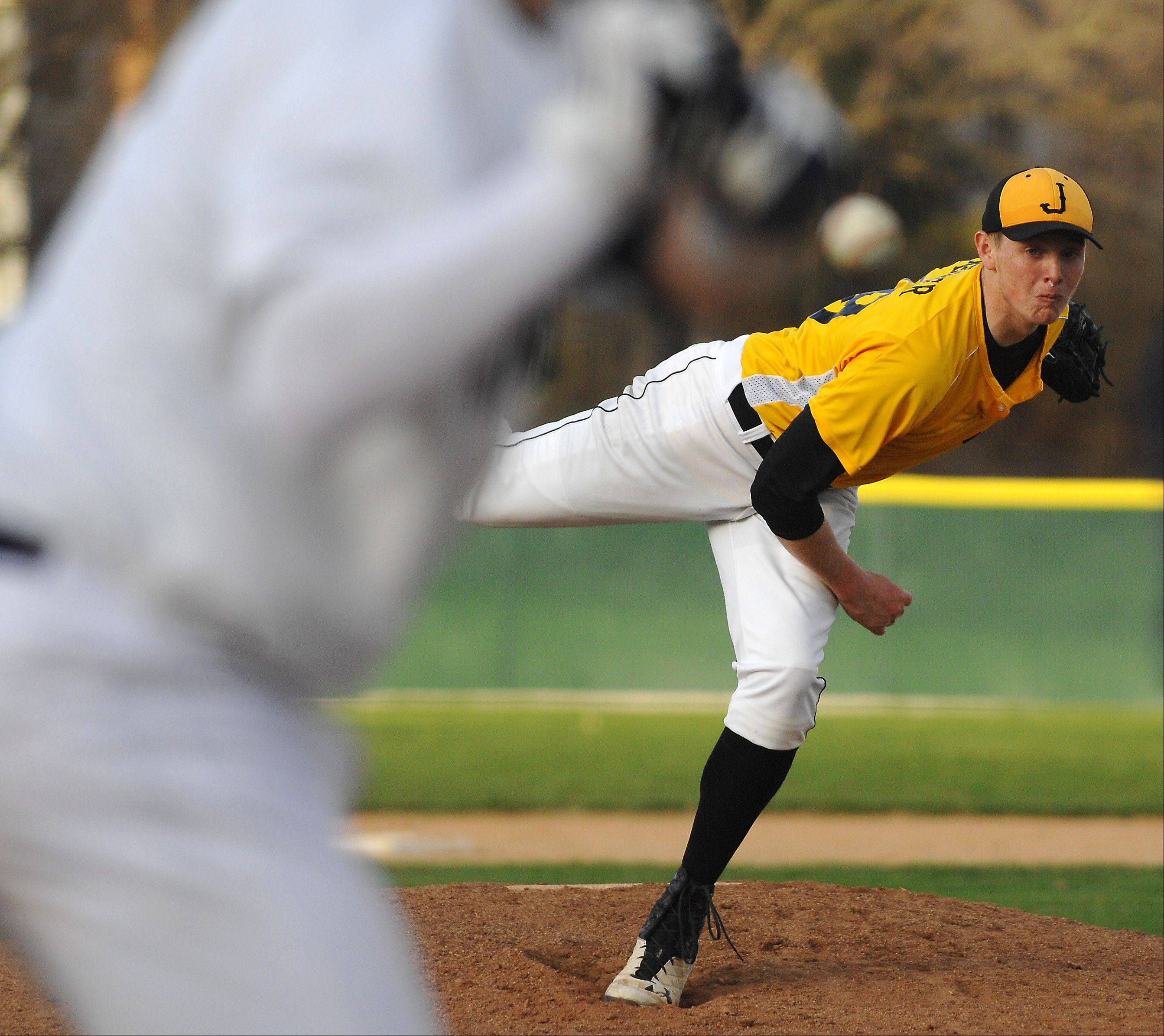 Jacobs pitcher Reilly Peltier delivers a pitch during Friday's game in Cary.