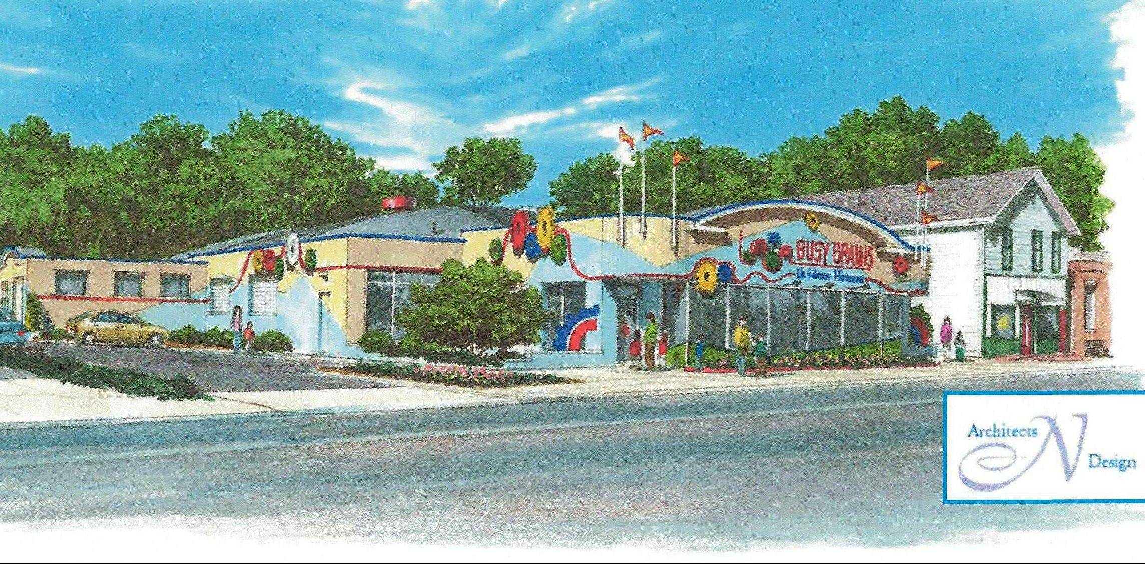 This is an artist's rendering of a planned permanent location for Busy Brains Children's Museum in downtown Lake Villa. Opening day is not expected for at least 18 months.