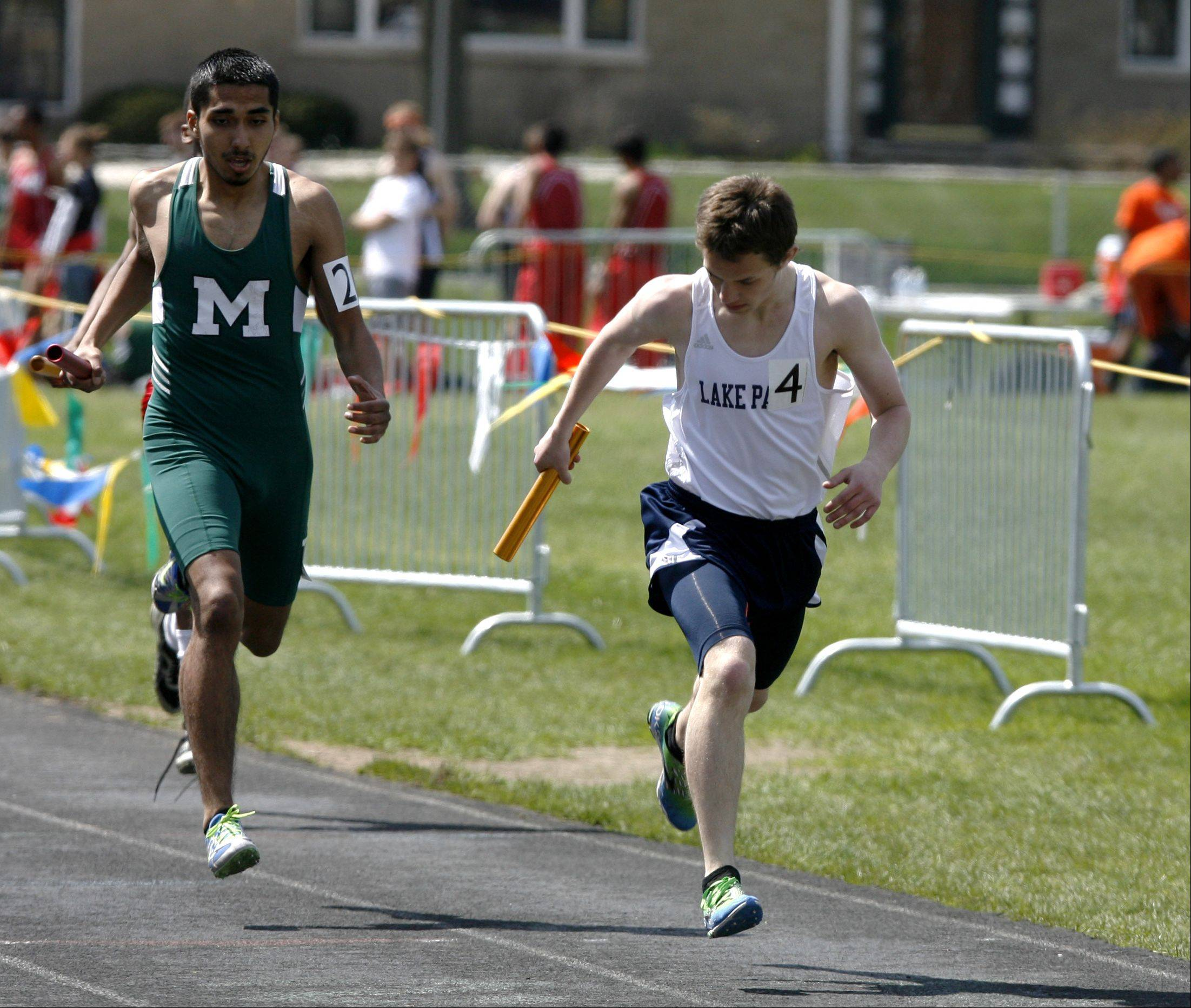 Lake Park�s Zachary Schwarz anchors the 4 x 400 meter relay, during the first heat of the Glenbard West boys track invitational.