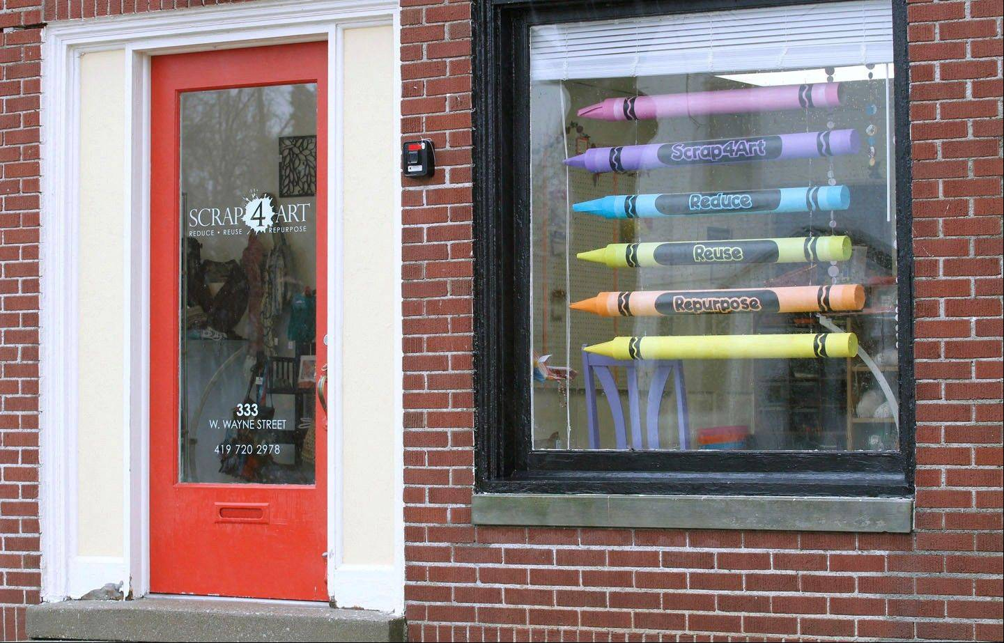 Crayon curtains are made of cardboard tubes and are for sale at Scrap 4 Art in Maumee, Ohio.