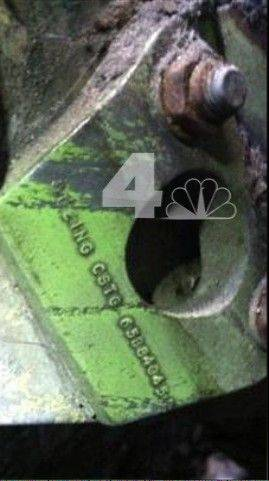 Associated PressA section of wreckage from a landing gear bearing a Boeing serial number. The gear was found wedged in between two New York City buildings not far from the World Trade Center construction site.