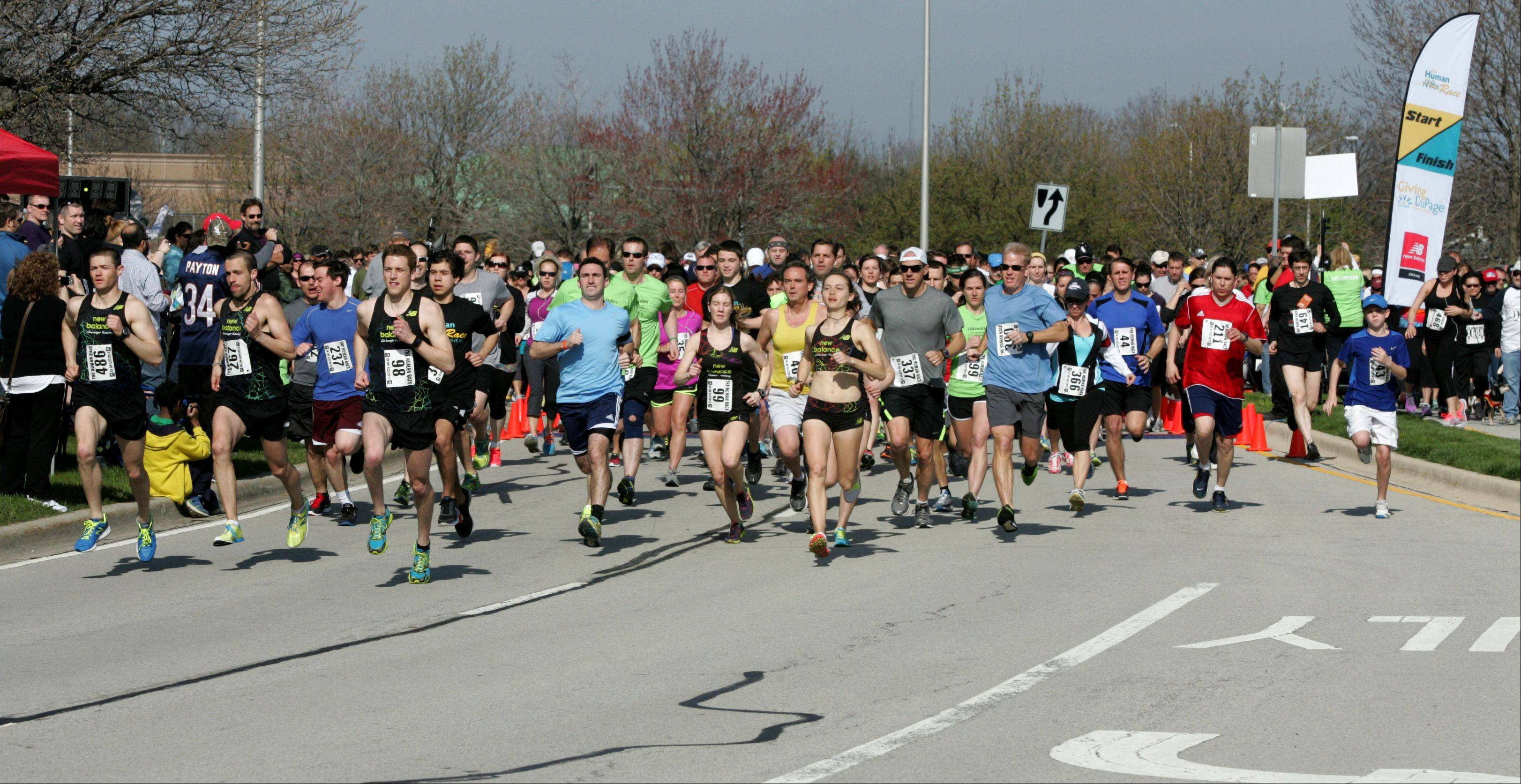 Runners start the second annual Human Race, a 5K run and 2-mile walk hosted by Giving DuPage on Saturday morning in Downers Grove. The race allows supporters of small, local nonprofits to fundraise for the charity of their choice.
