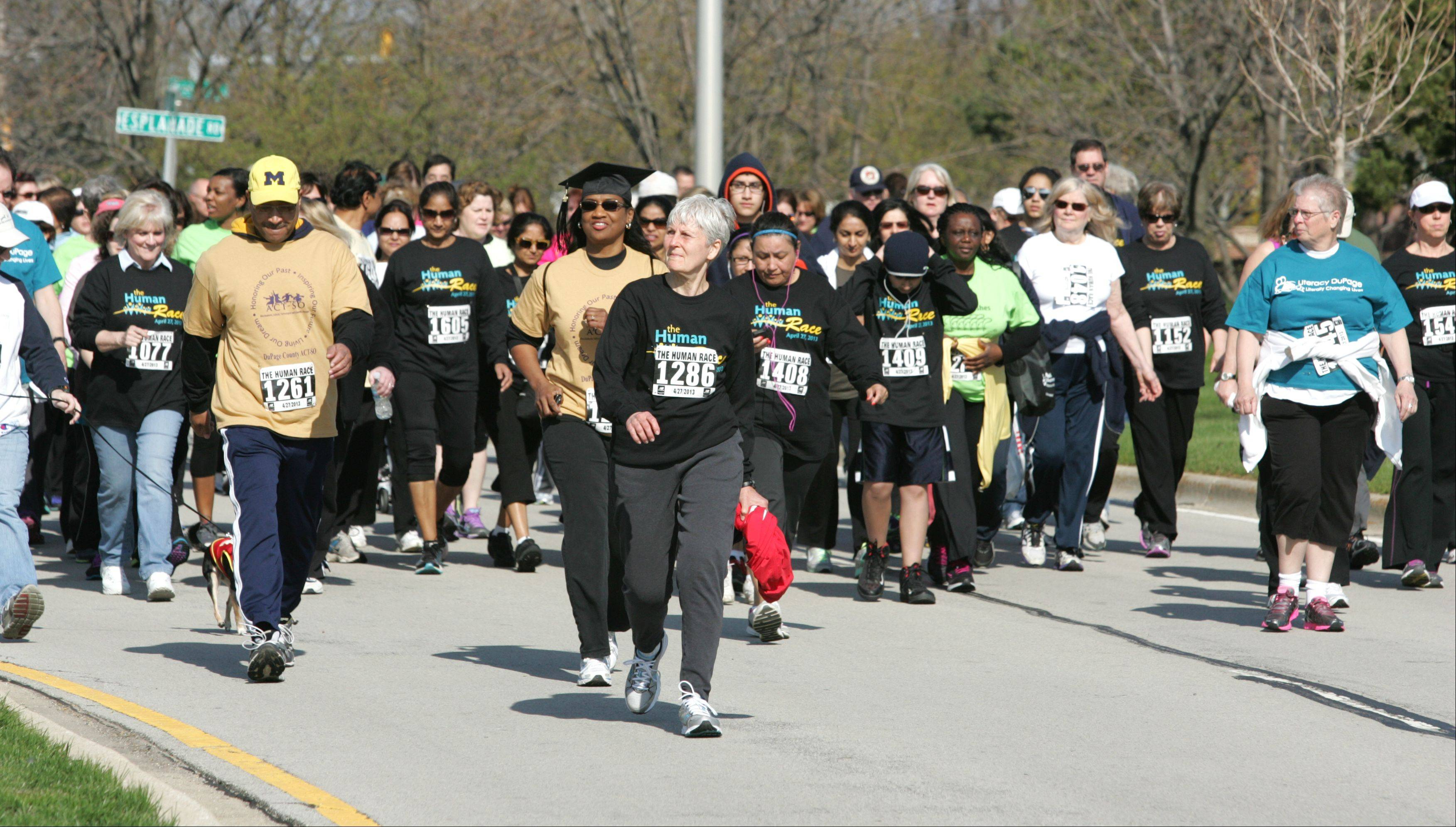 Walkers begin their 2-mile course Saturday morning in Downers Grove as part of the second annual Human Race hosted by Giving DuPage.