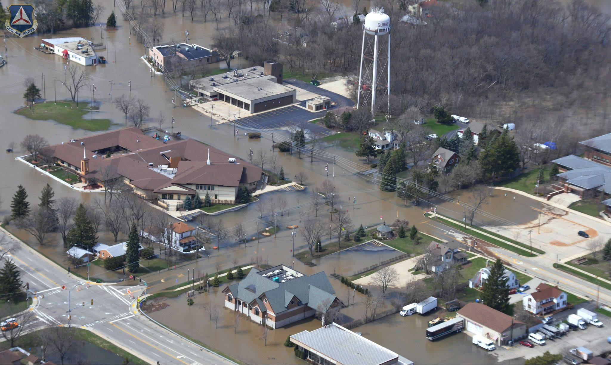 Floodwaters from the Des Plaines River invade Old Grand Avenue in downtown Gurnee.