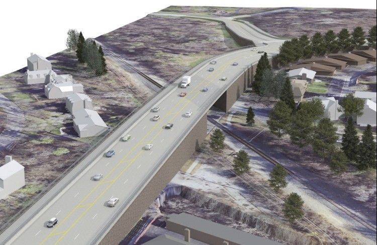 This rendering shows the Route 14 overpass option for the proposed grade separation at the CN crossing in Barrington.