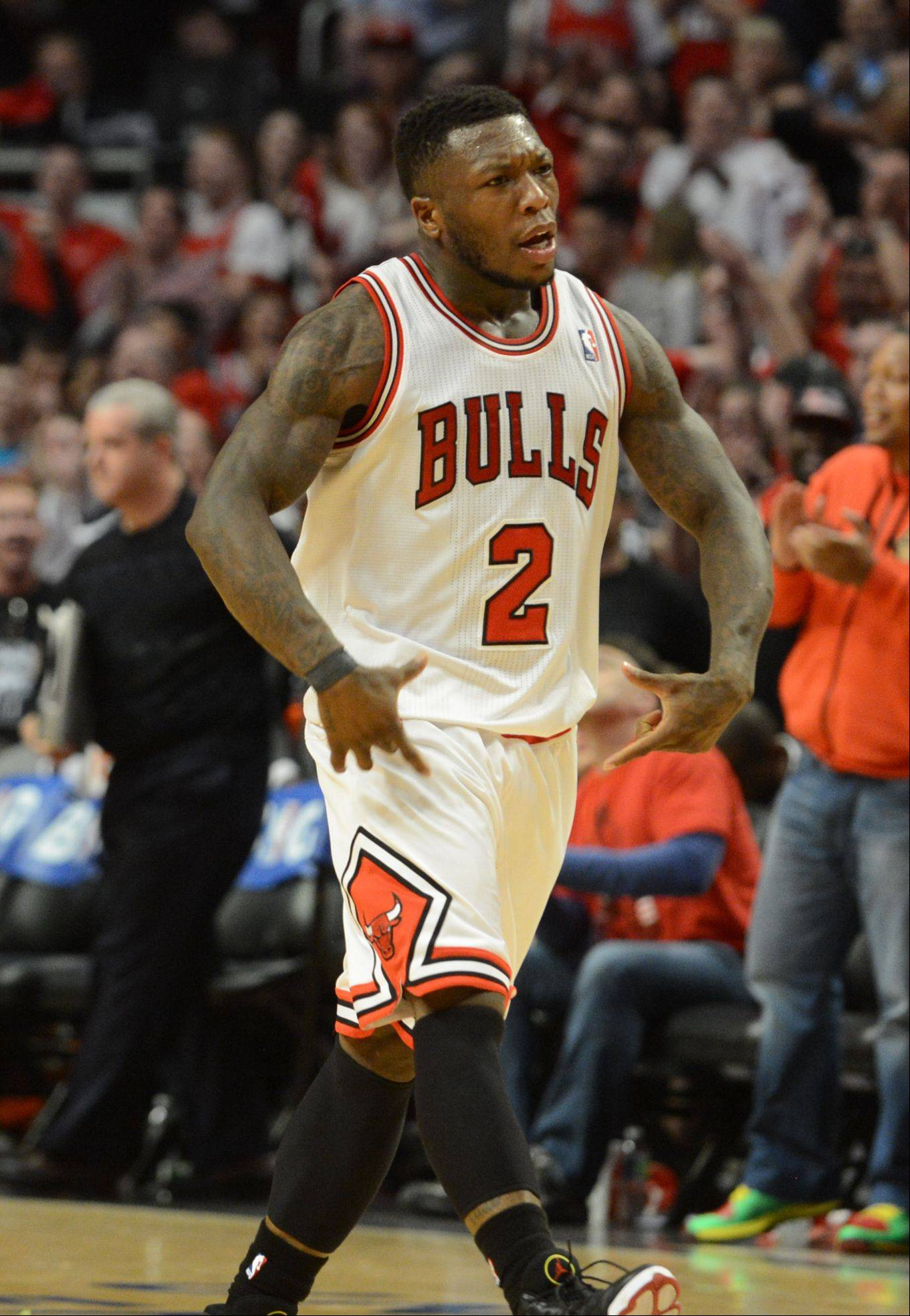 The Bulls Nate Robinson is all pumped up after sinking another basket in overtime Saturday during game 4 of the first round playoff game against the Brooklyn Nets at the United Center. The Bulls won in triple overtime 142-134