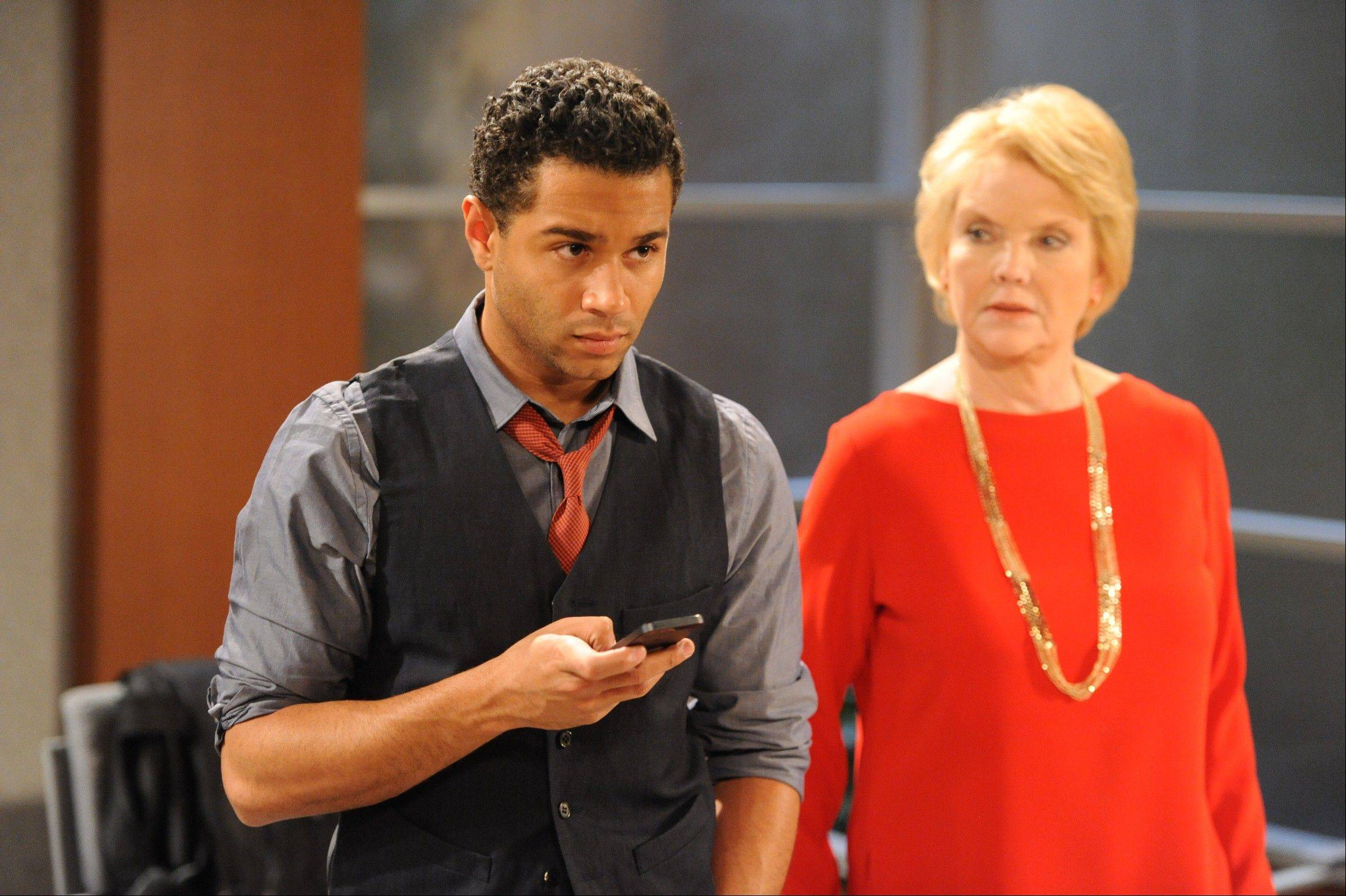 "Corbin Bleu plays Jeffrey King, left, and Erika Slezak as Victoria Lord, on the set of ""One Life To Live."""