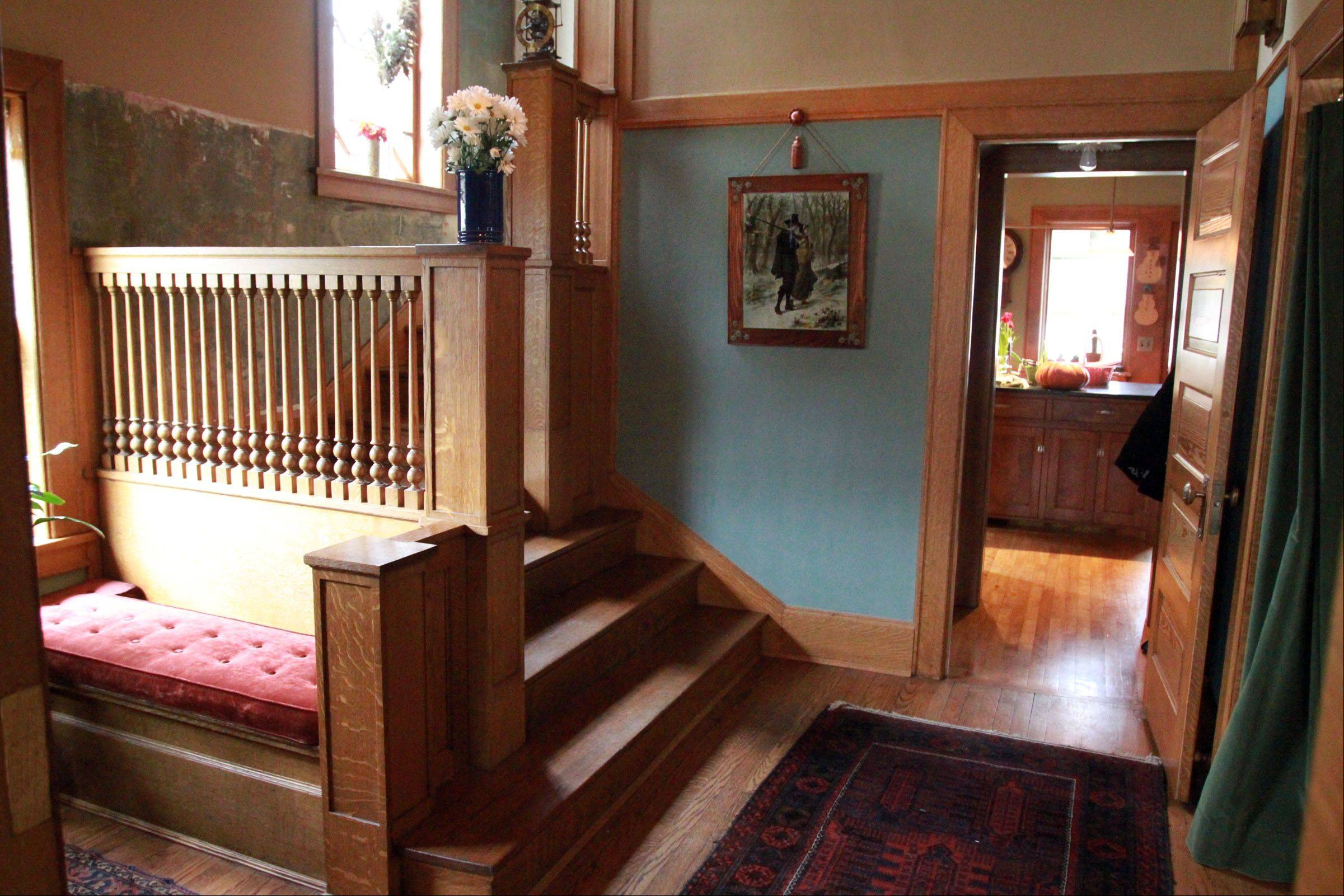 Staircase in Mark Donovan and Mary Ludgin's home.