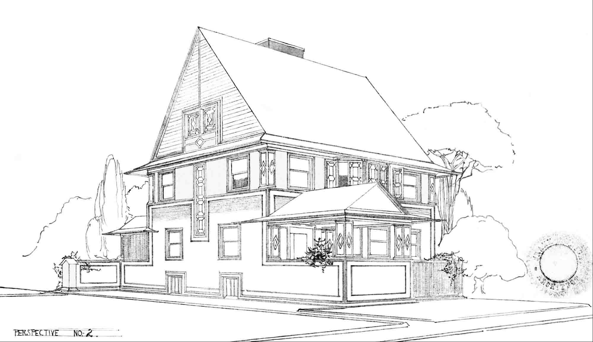 Original drawing of Mark Donovan and Mary Ludgin's home, designed by Frank Lloyd Wright in 1896.