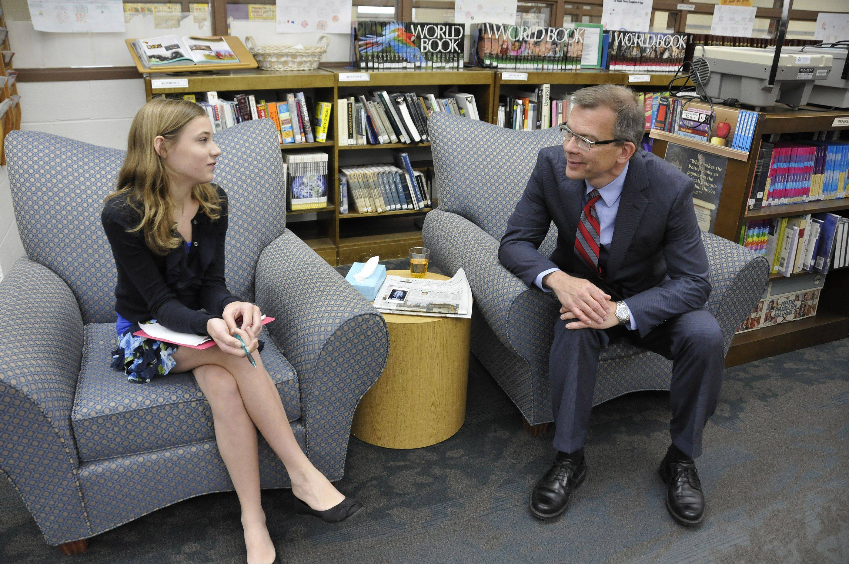 After presenting awards to area school officials and teachers at Peacock Middle School in Itasca, State Schools Superintendent Chris Koch sat down for an interview Monday with Nicole Marcinkus. She is a seventh-grader at Peacock and landed an interview for the school's student newspaper.