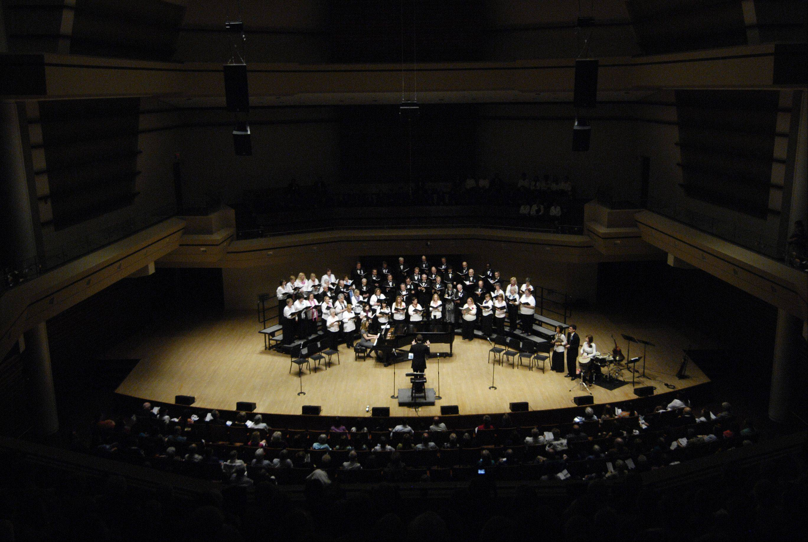 The Voices of Hope choir perform at the Wentz Concert Hall at North Central College in Naperville Sunday.