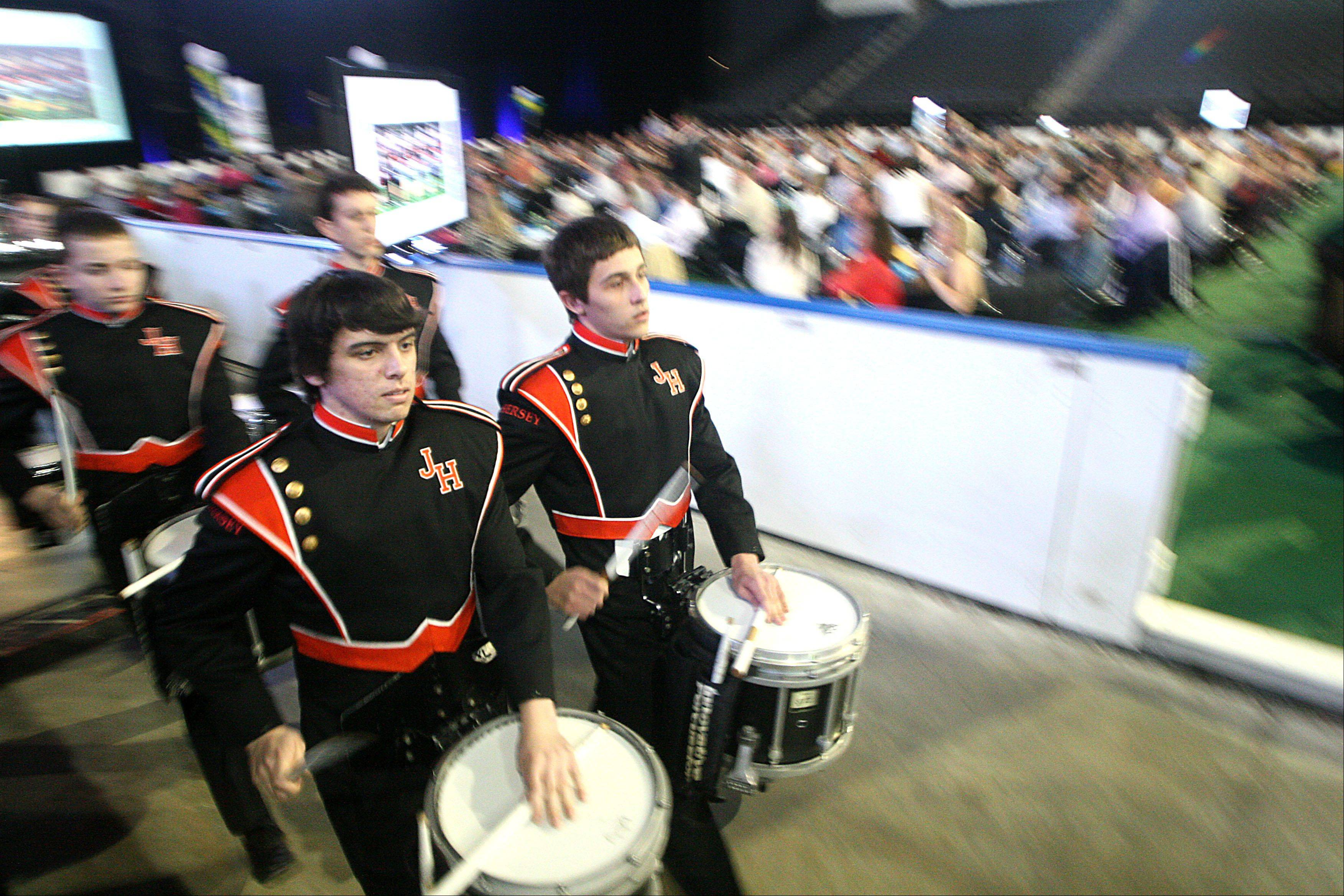 Patrick Kunzer/pkunzer@dailyherald.comMembers of the John Hersey High School drum line perform during the Daily Herald Prep Sports Excellence Awards Ceremony at Sears Centre Arena in Hoffman Estates on Sunday.