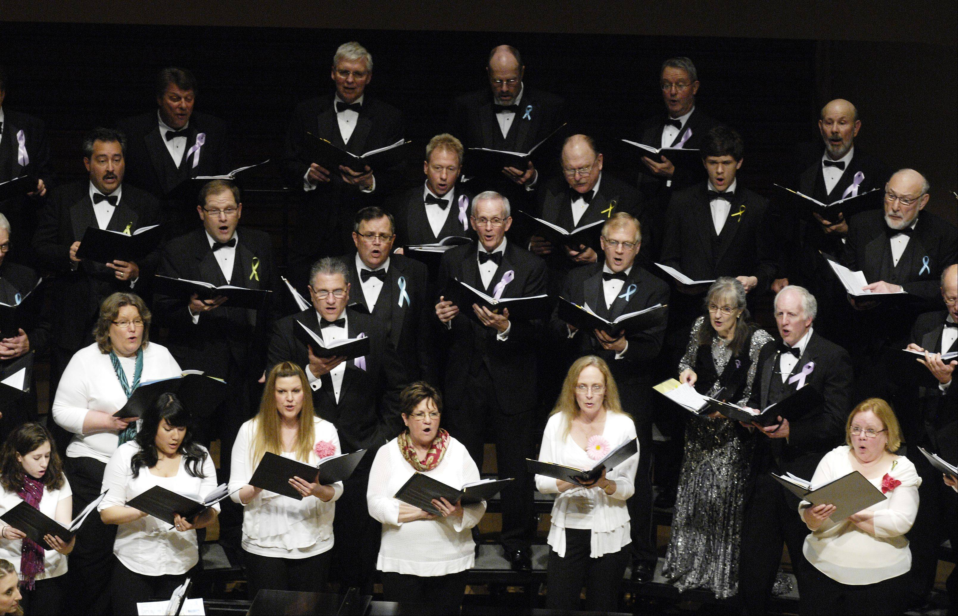 The Voices of Hope choir performs Sunday at North Central College in Naperville, during a special concert for people whose lives were touched by cancer.