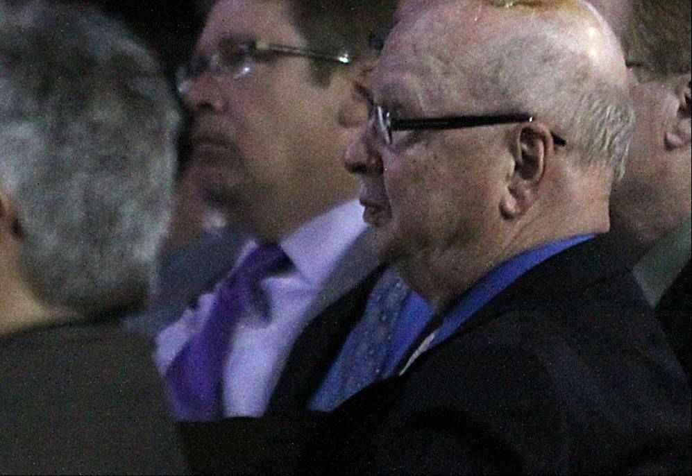 Daily Herald Executive Vice President and General Manager Scott Stone, center, and Daily Herald retired prep sports editor Bob Frisk partiicpate during the Daily Herald Prep Sports Excellence Awards Ceremony at Sears Centre Arena in Hoffman Estates on Sunday.