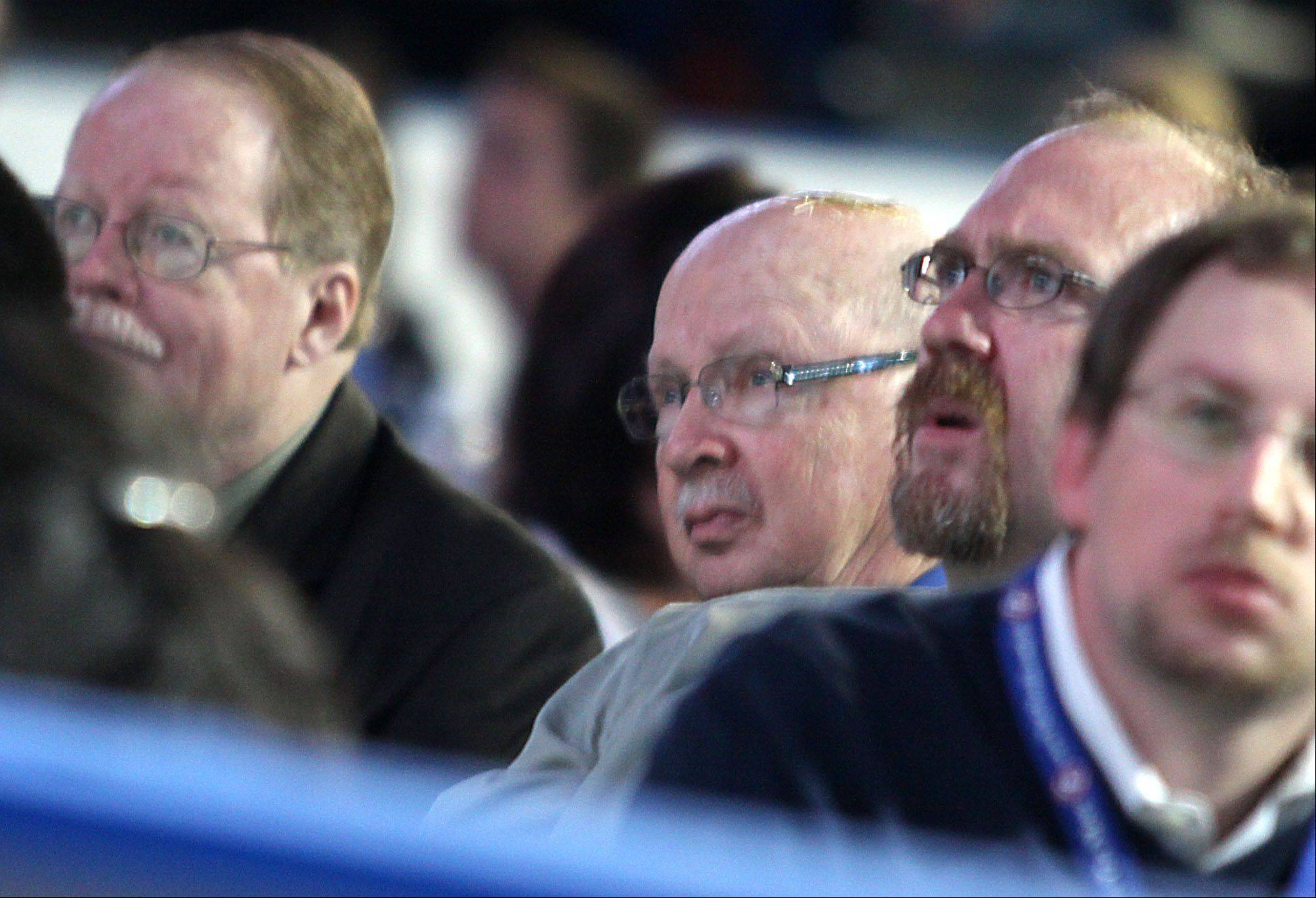 From left, Daily Herald Sports Editor Tom Quinlan, retired Prep Sports Editor Bob Frisk, and Prep Sports Editor Aaron Gabriel participate during the Daily Herald Prep Sports Excellence Awards Ceremony at Sears Centre Arena in Hoffman Estates on Sunday.