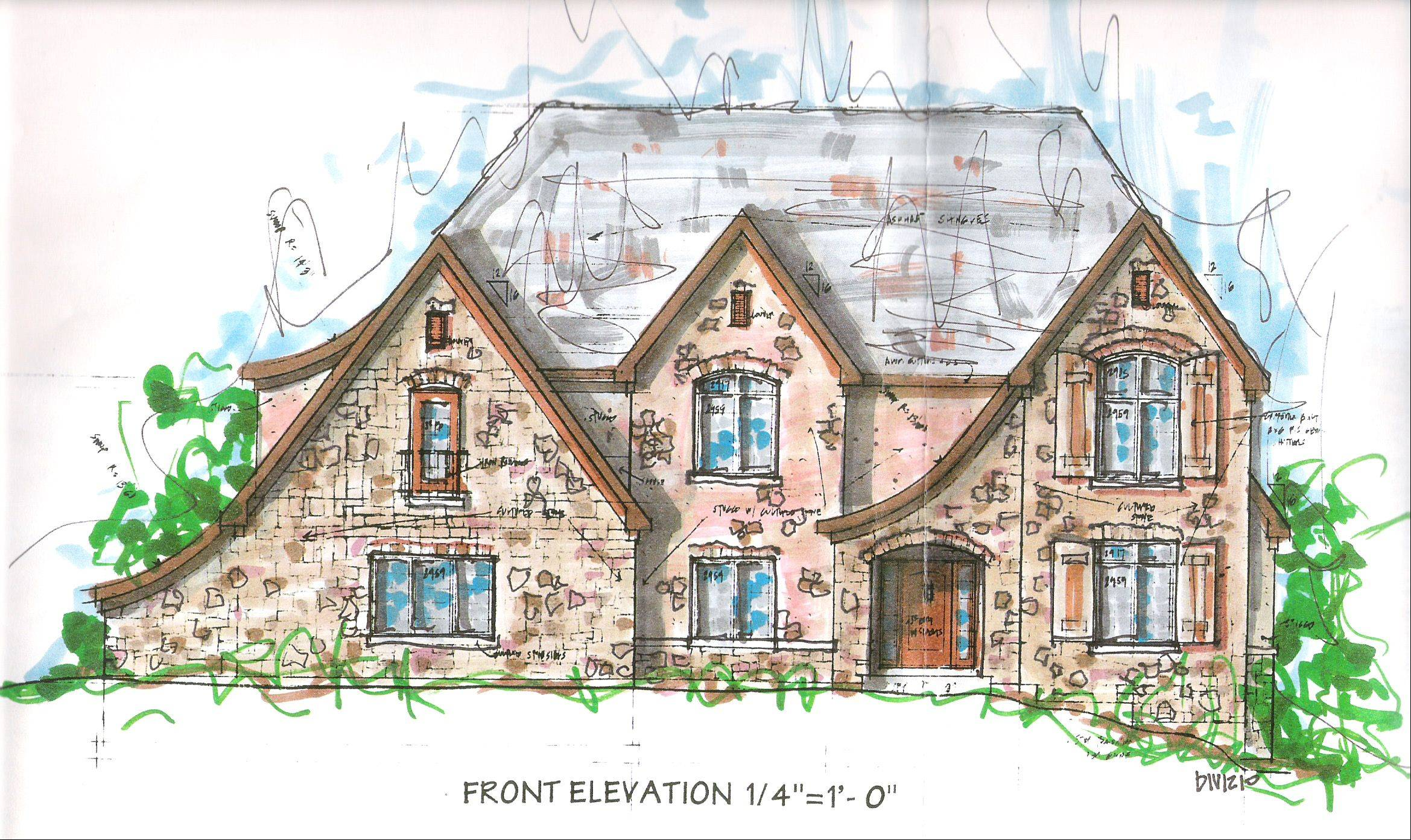 Artist's sketch of one of the 25 houses proposed for the River Ridge Estates subdivision on North River Road in Algonquin. Homes there would start at $700,000.