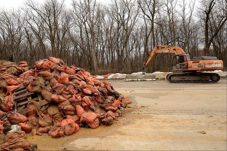 Sandbags piled up at Old Willow Road and Des Plaines River Road just north of Levee 37.