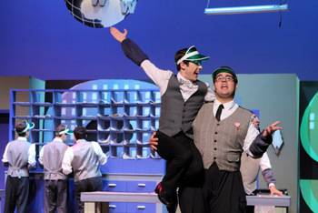 "Zach Lentino and Michael Pirovano in a scene from last year's Schaumburg Summer Theatre production of ""How to Succeed in Business Without Really Trying."""