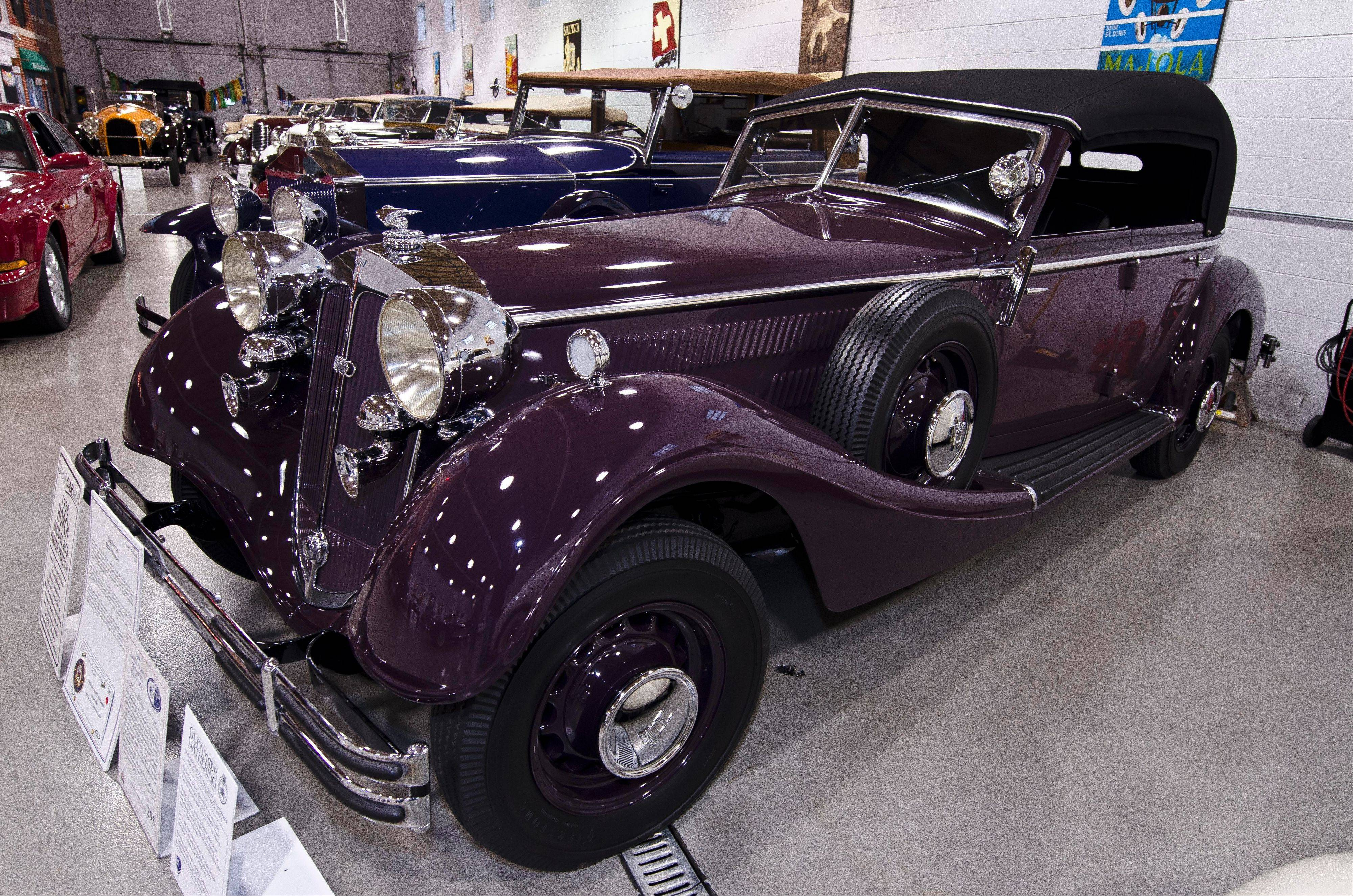 An example of the rarity found in the collection is this 1938 Horch 853 Phaeton, one of three made for the German Luftwaffe, and the only one known to survive World War II.