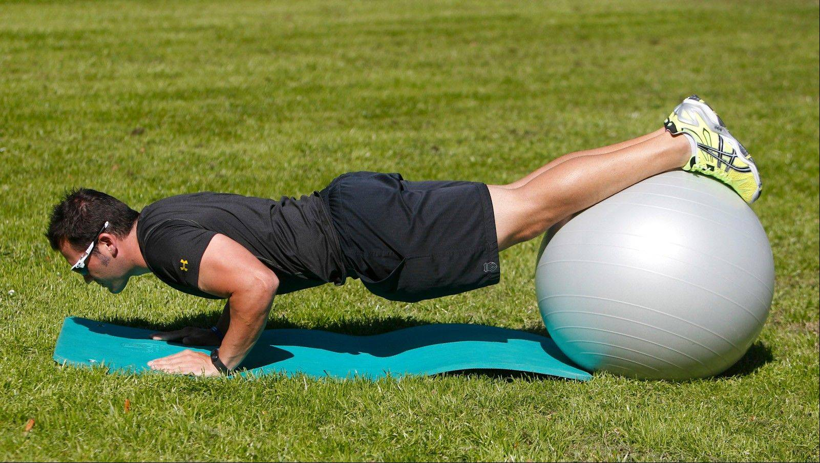 A pushup on ball is a great upper-body and core-strengthening exercise.