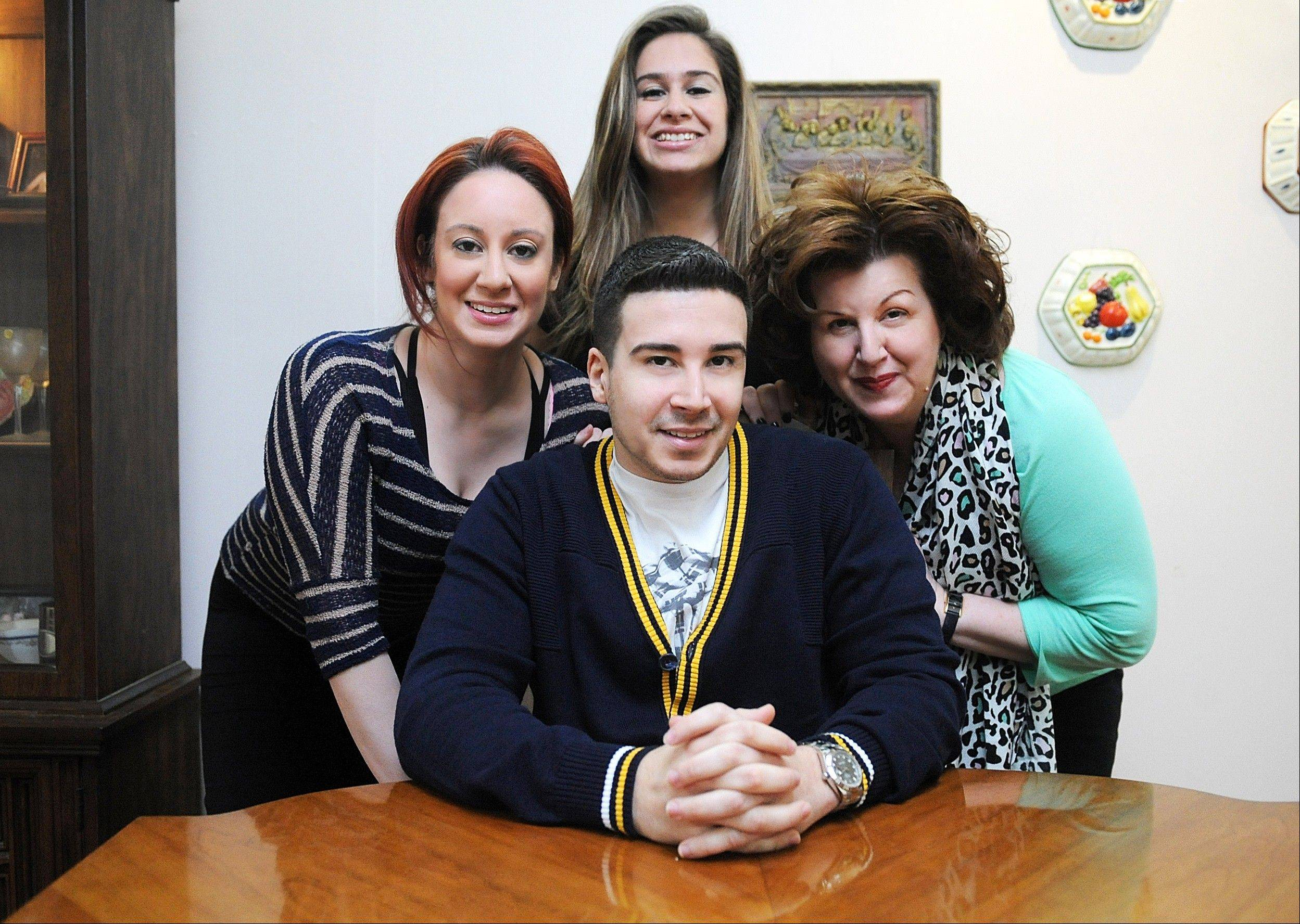 "Family is key to MTV's ""The Show With Vinny."" Host Vinny Guadagnino has celebrity guests come to his cramped Staten Island home where his mom, Paola Giaimo, right, cooks for everyone, and his sisters, Antonella, left, and Mariann Guadagnino keep interrupting him."