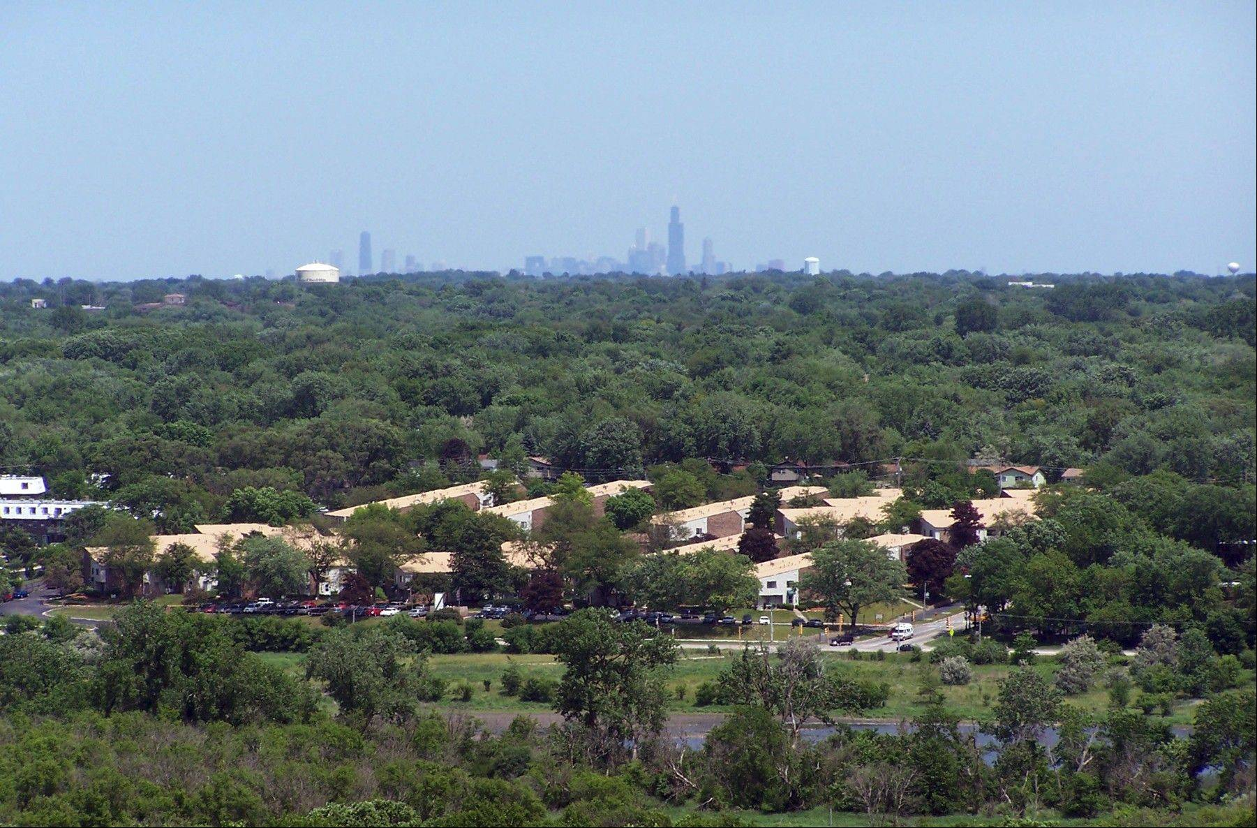 The scenic overlook in Greene Valley Forest Preserve in Naperville offers a view of the Chicago skyline.