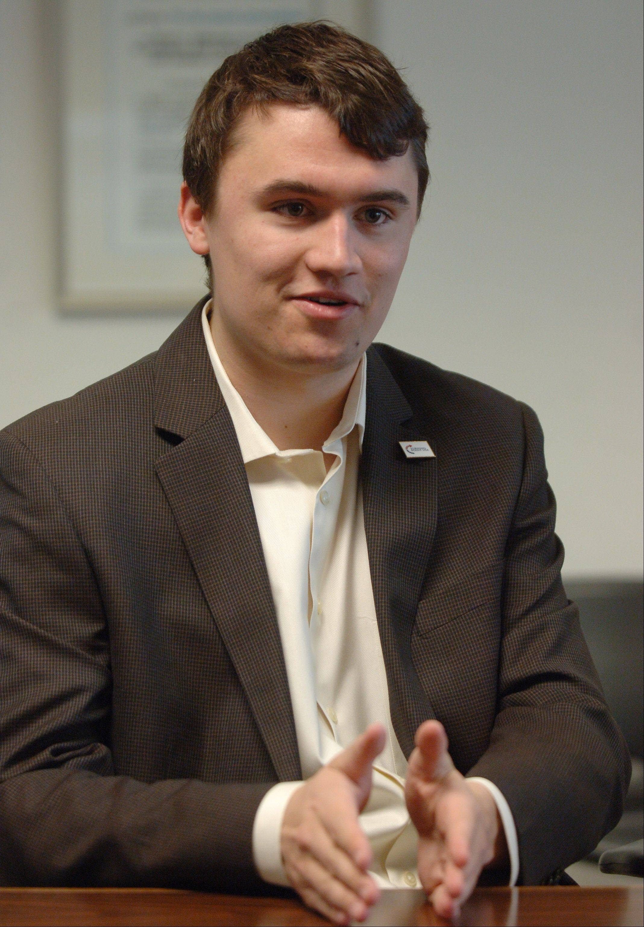 Charlie Kirk, 19, of Wheeling, makes a point about his life in politics.