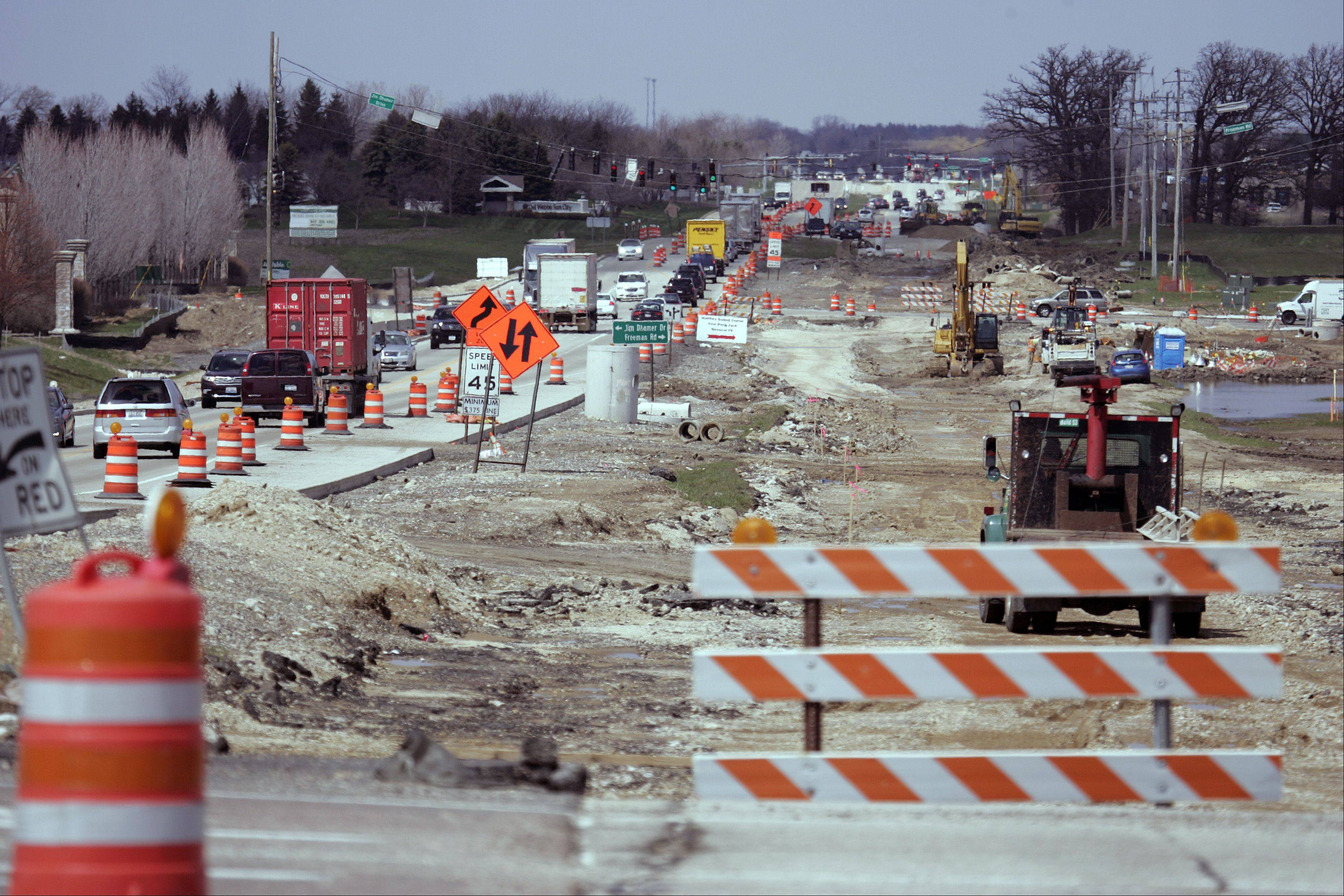 It's that time of the year for roadwork. A northbound view along Route 47 shows the progress of a new full interchange at the Jane Addams Tollway (I-90) in Huntley.