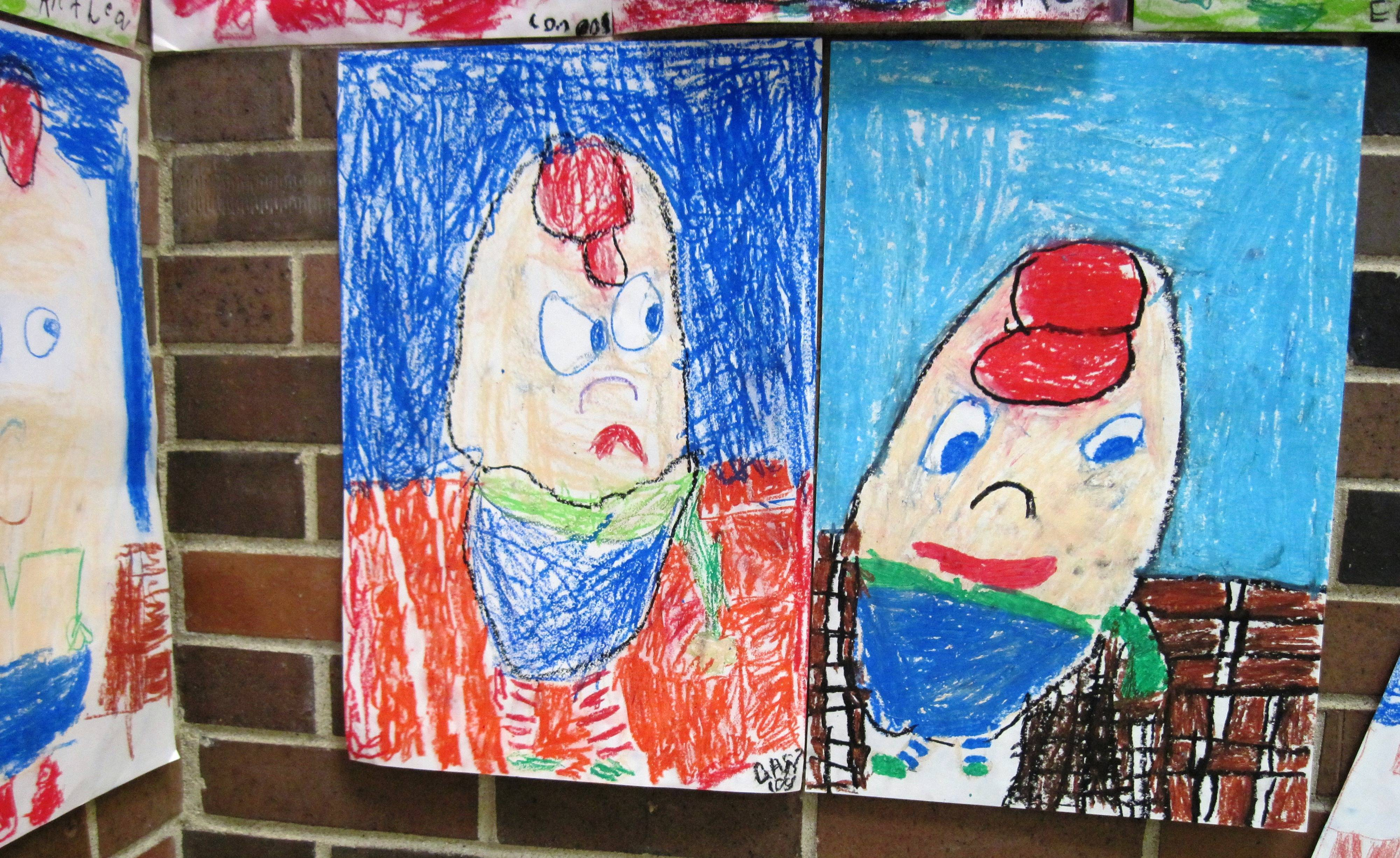 "Kindergartners at Coventry Elementary in Crystal Lake create one of their favorite nursery/fairy tale characters, ""Humpty Dumpty! Image sent by art teacher Linda Belloto."