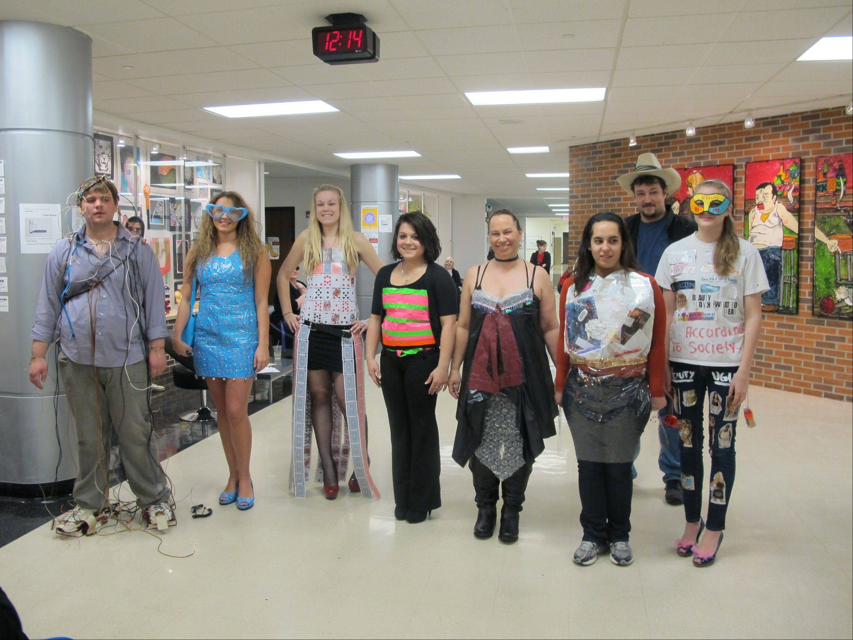 MCC students taking part in an unusual art/engineering project are, from left, Sean Myatt of Wonder Lake, Jessica Myers of Johnsburg, Cassandra Laing of Wonder Lake, Samantha Falco of Crystal Lake, Michelle Nowland and Rachel Campo, both of McHenry, Alex Saputo of Crystal Lake, and Jennifer Bochenek of Lake in the Hills.