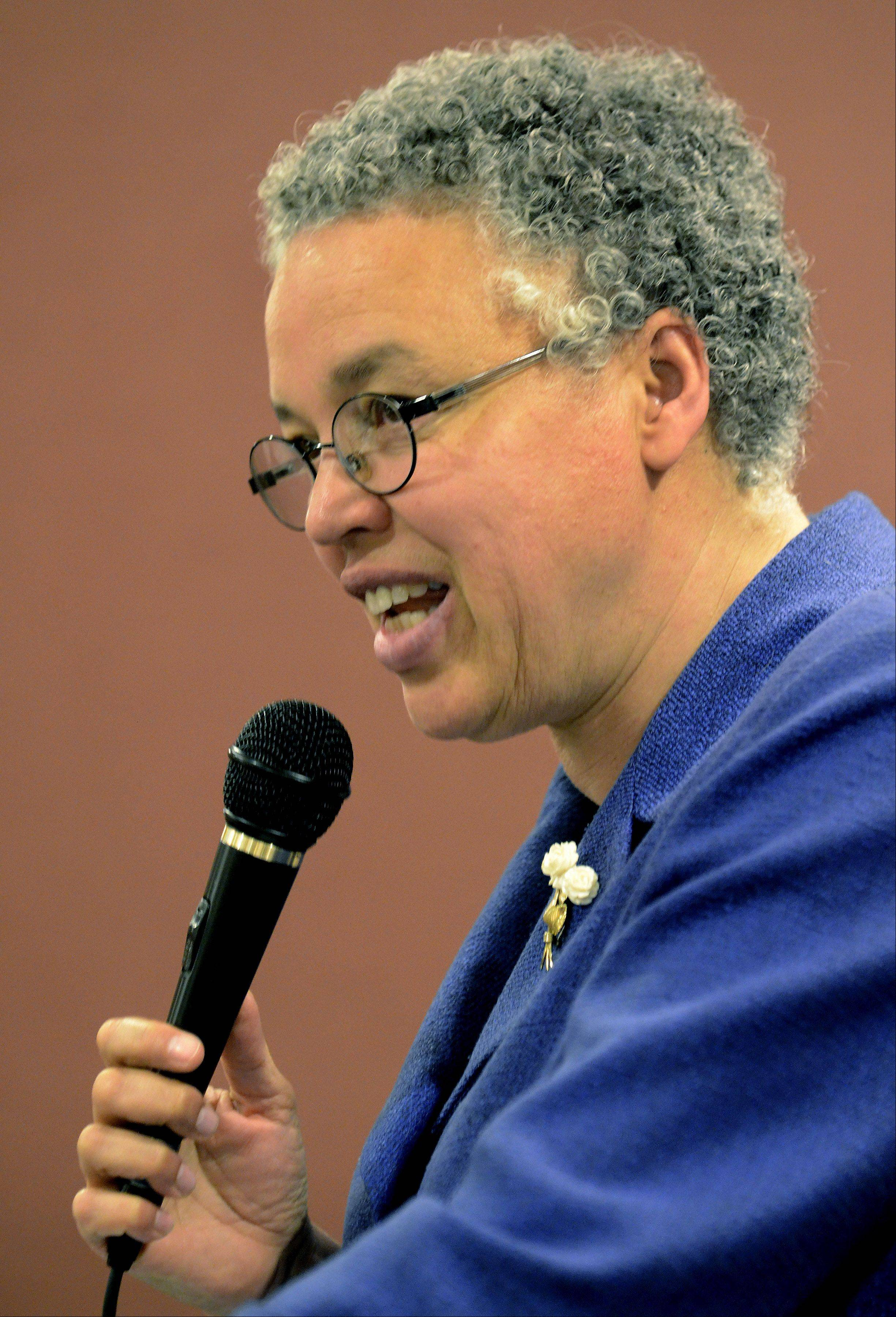 Cook County Board President Toni Preckwinkle speaks at a multi-chamber luncheon in Palatine on Tuesday.