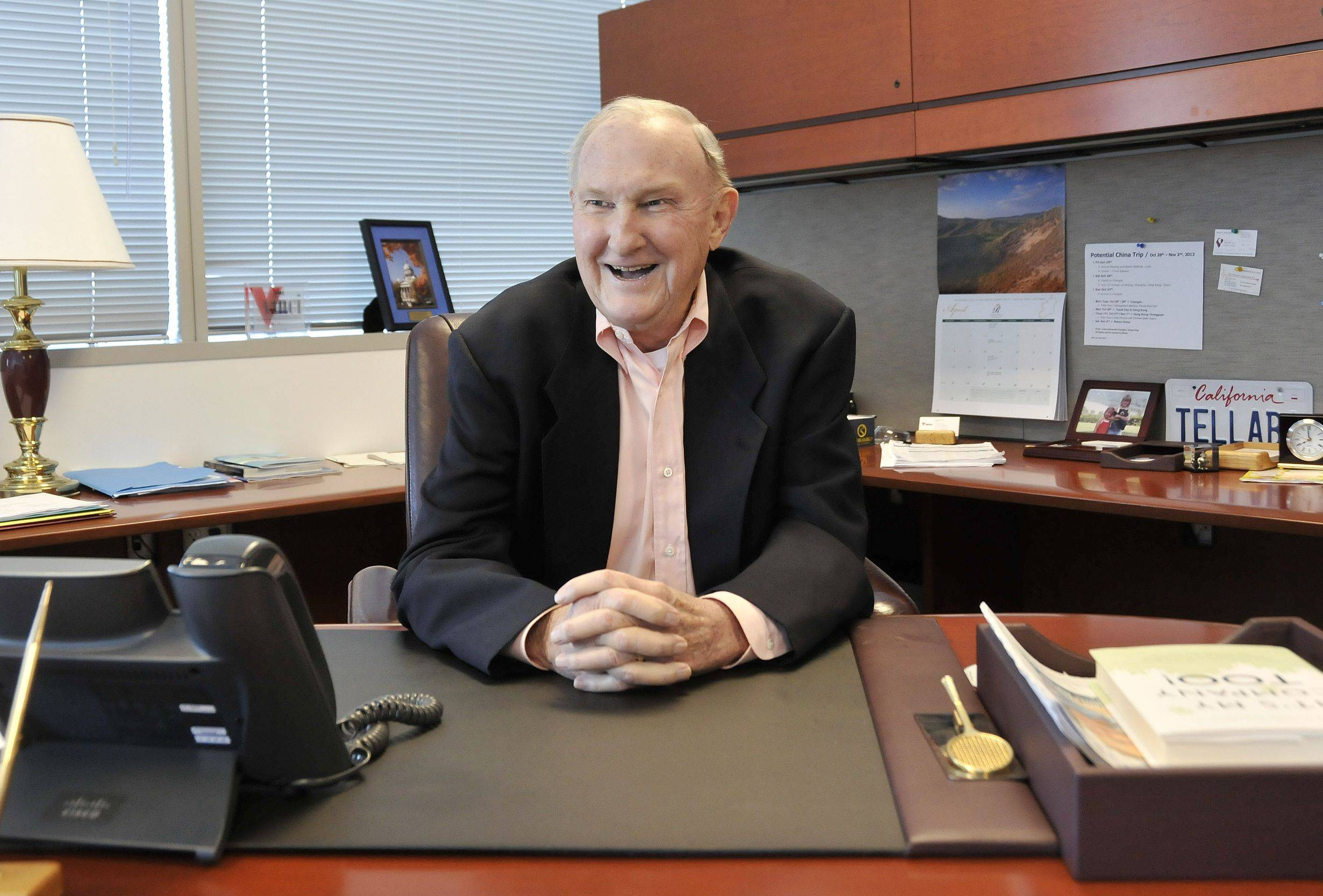 Tellabs Inc. co-founder and Chairman Mike J. Birck talks Monday in his office at the Naperville headquarters, two days before he officially retires during the company's shareholder meeting.