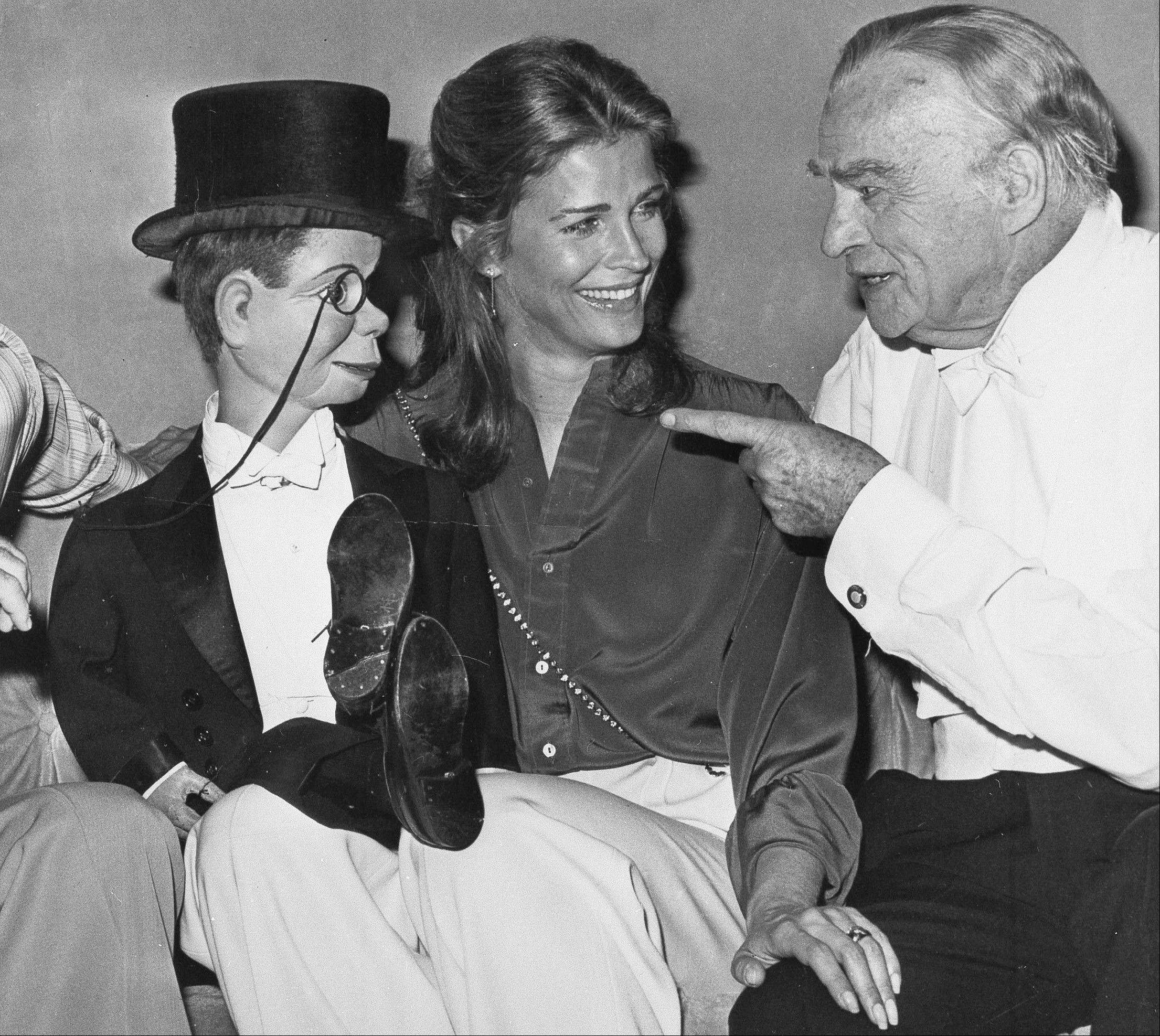 Dummy Charlie McCarthy with actress Candice Bergen and her father, ventriloquist Edgar Bergen. A spokeswoman for Candice Bergen says the actress is developing a film about her late father.