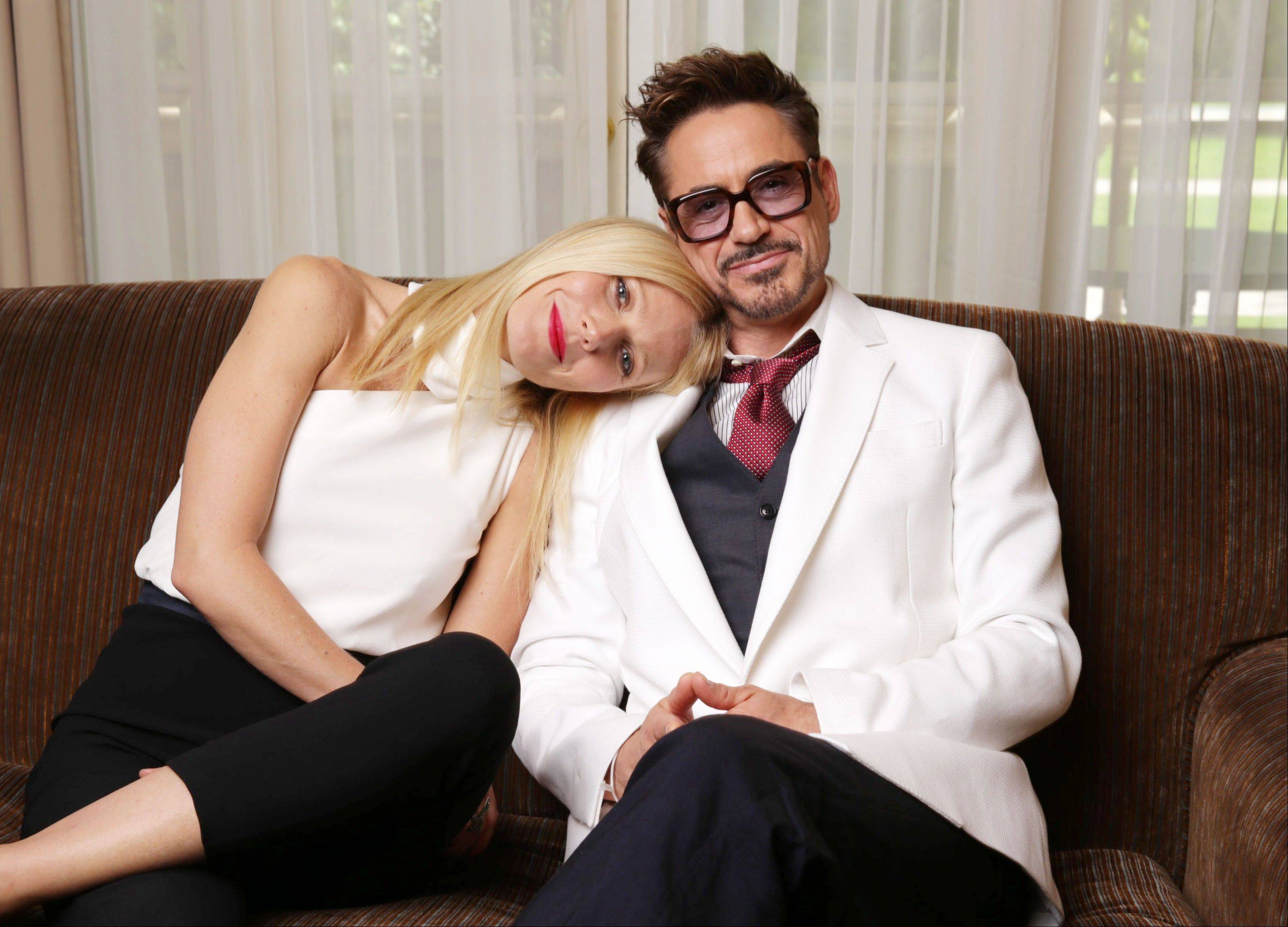"There's something of the old married couple about good friends Gwyneth Paltrow and Robert Downey Jr., who star in the upcoming movie ""Iron Man 3."""
