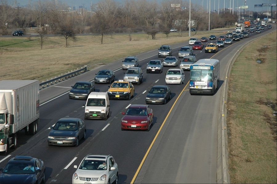 Pace's Bus on Shoulders program allows buses to use the shoulder of the Stevenson Expressway during heavy traffic.