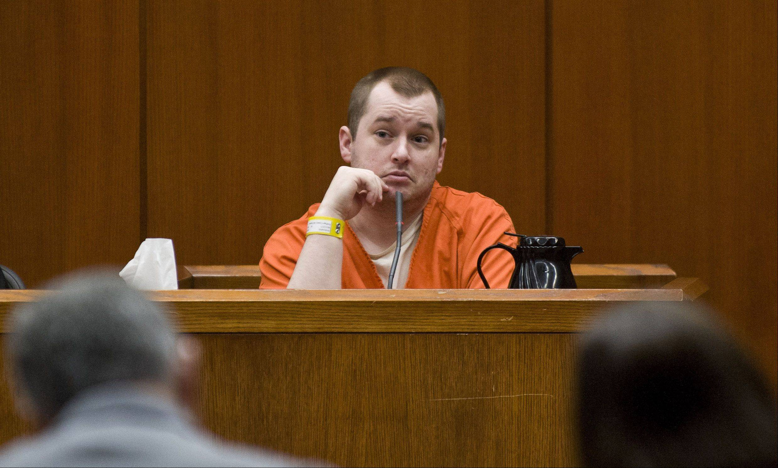Witness Jacob Nodarse answers questions during cross examination in the murder trial of Johnny Borizov at DuPage County Courthouse in Wheaton Tuesday, April 30, 2013. | Rich Hein~Sun-Times