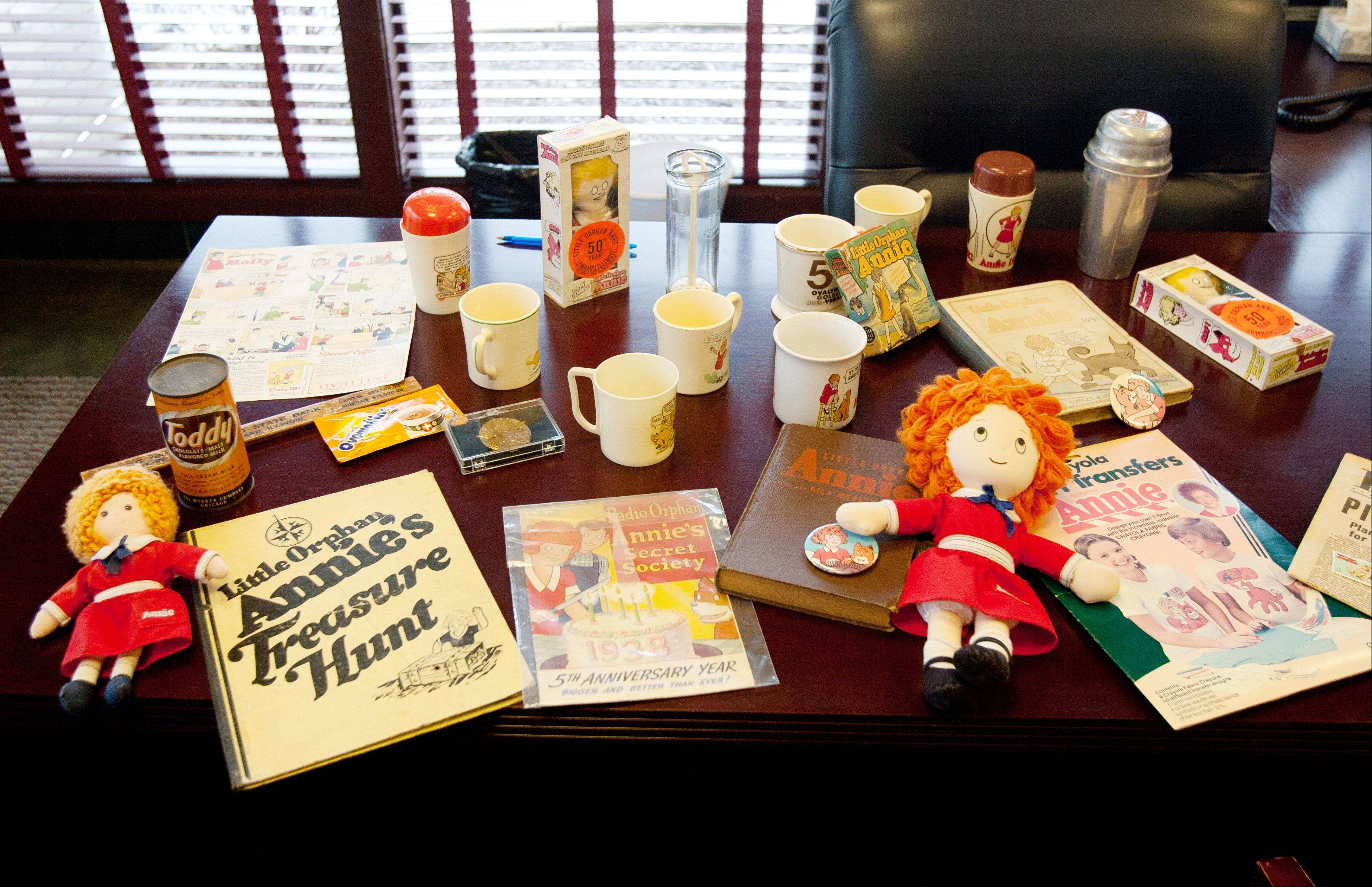 Cartoons, dolls, coffee mugs and toys are among the Little Orphan Annie items the downtown Lombard branch of BMO Harris Bank donated to the Lombard Historical Society. The character was created by cartoonist Harold Gray while he was living in Lombard and working for the Chicago Tribune.