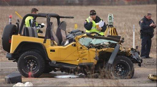 A Jeep Wrangler sits badly damaged following a crash at Route 173 and N. Kilbourne Road near Wadsworth, on Friday, April 5. The driver was fatally injured in the crash.