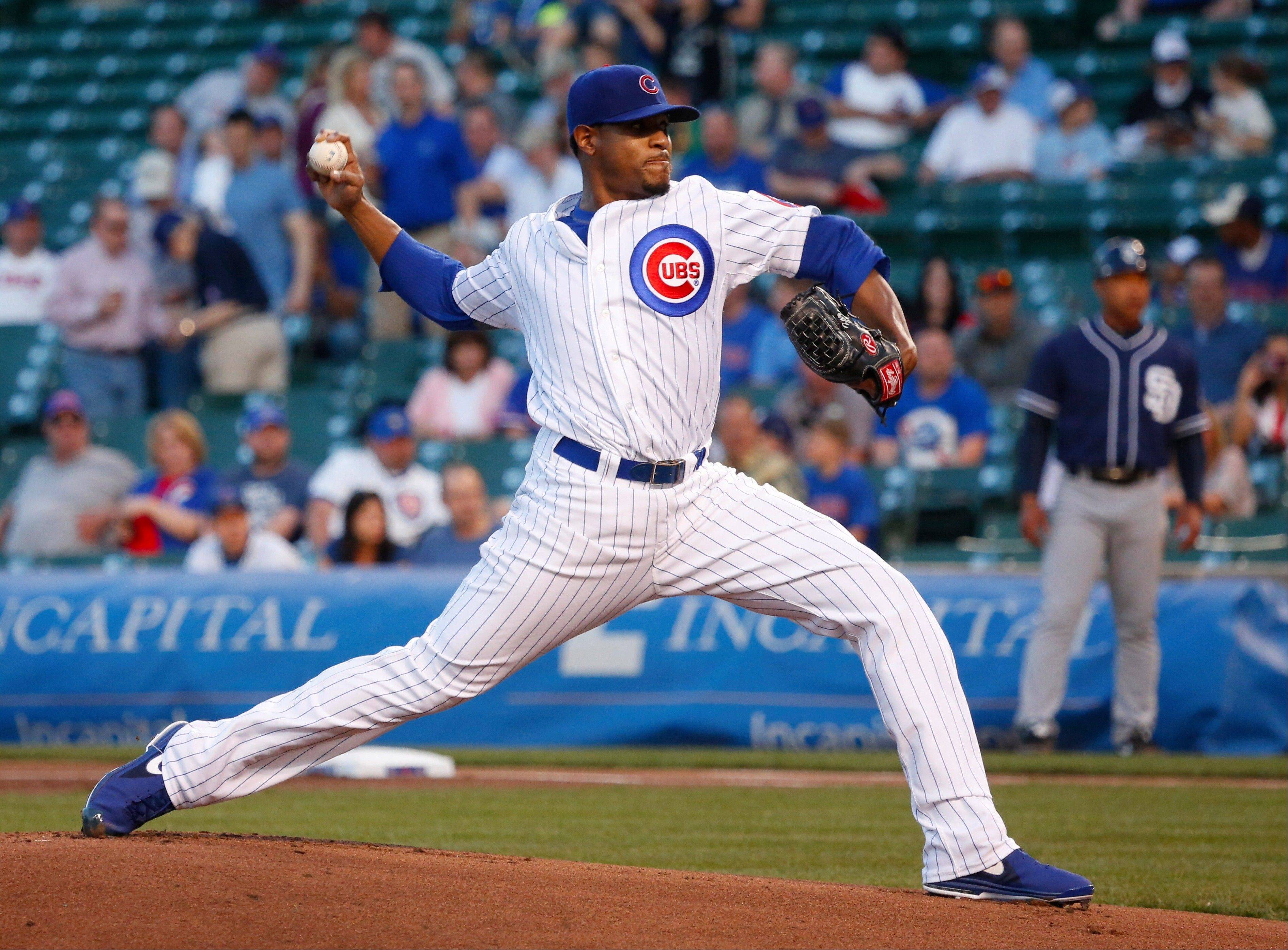 Chicago Cubs starting pitcher Edwin Jackson delivers during the first inning of a baseball game against the San Diego Padres, Tuesday, April 30, 2013, in Chicago.