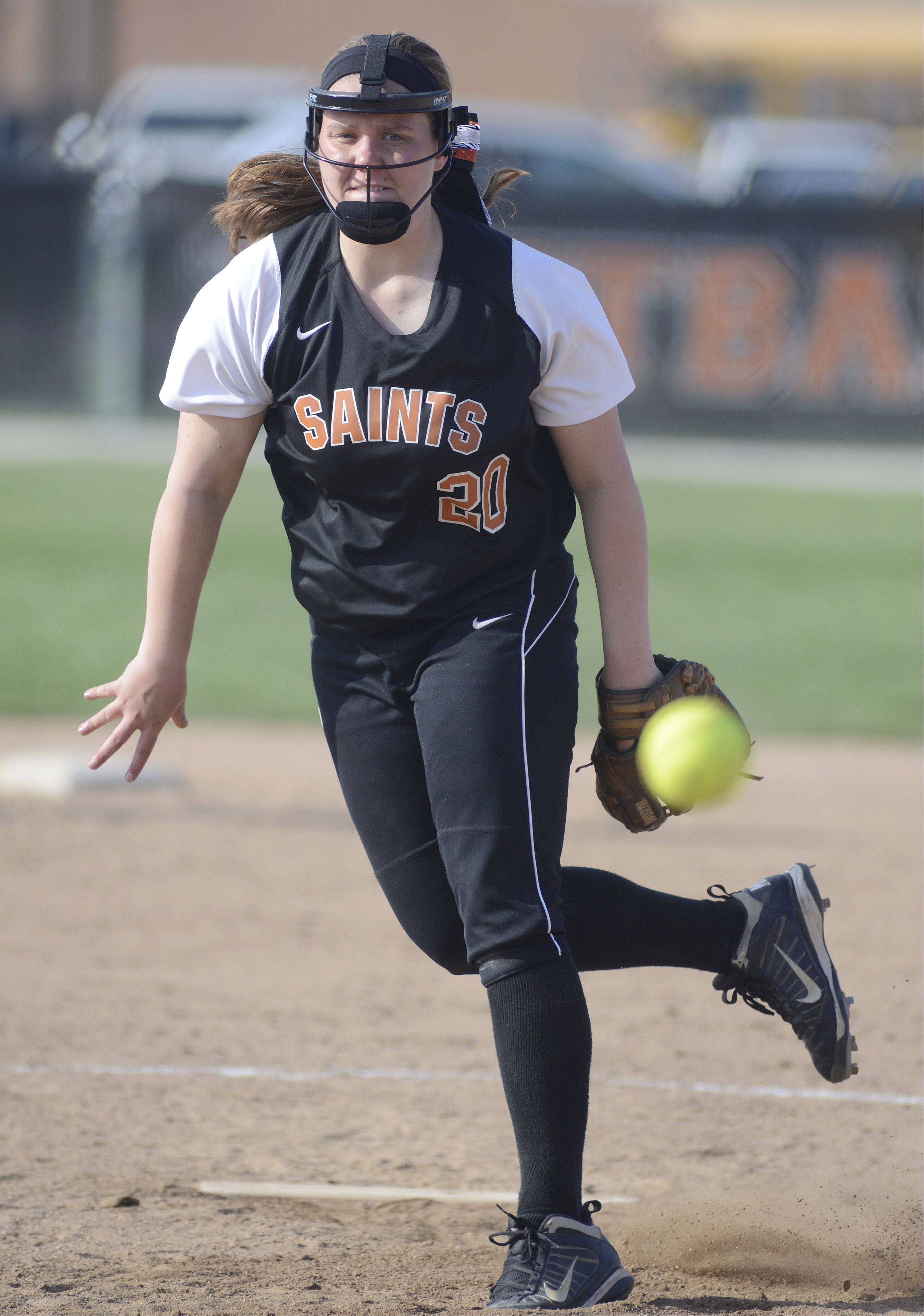 St. Charles East pitcher Haley Beno on Tuesday, April 30.