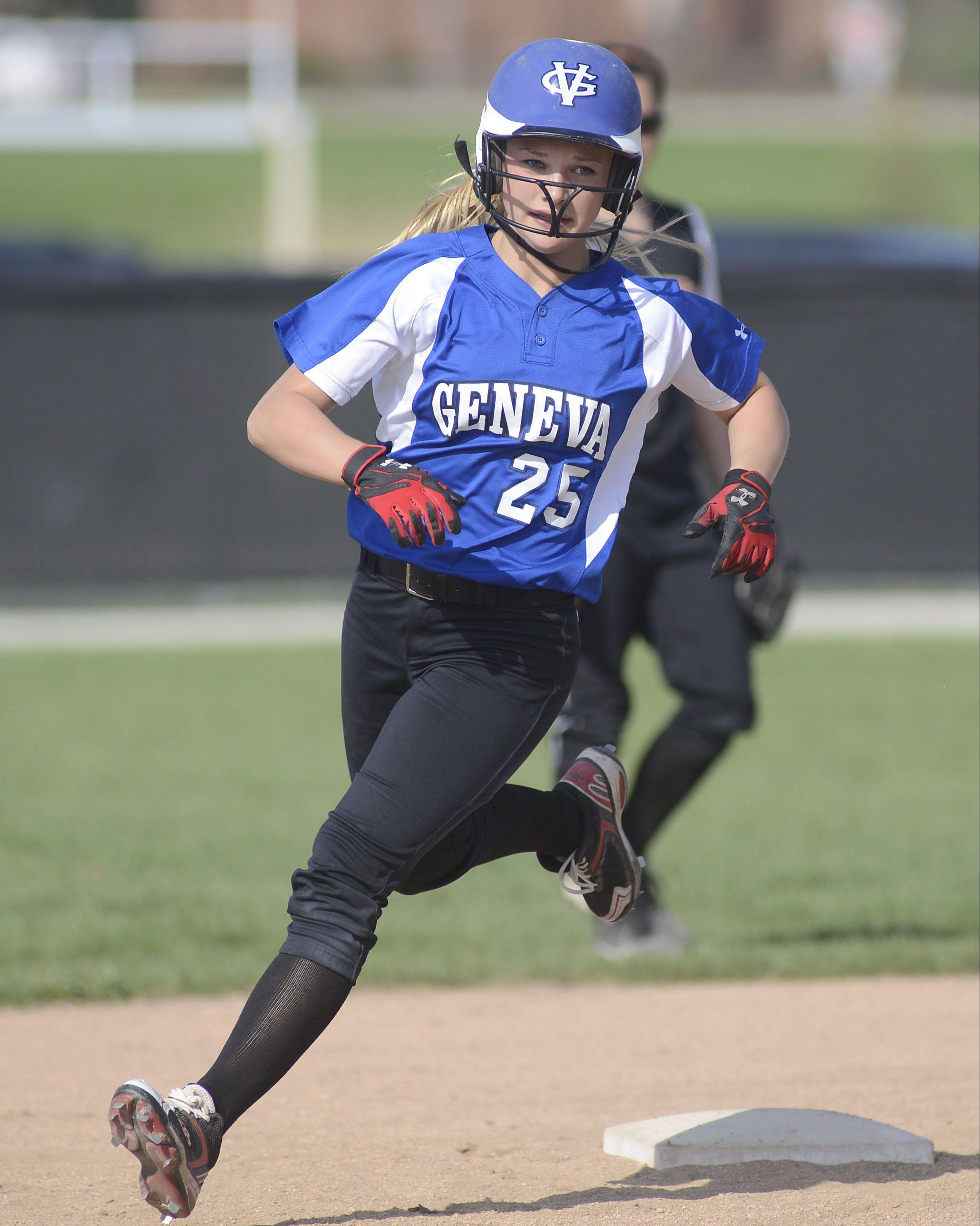 Geneva's Madison Keith rounds second base on her home run hit in the second inning on Tuesday, April 30.