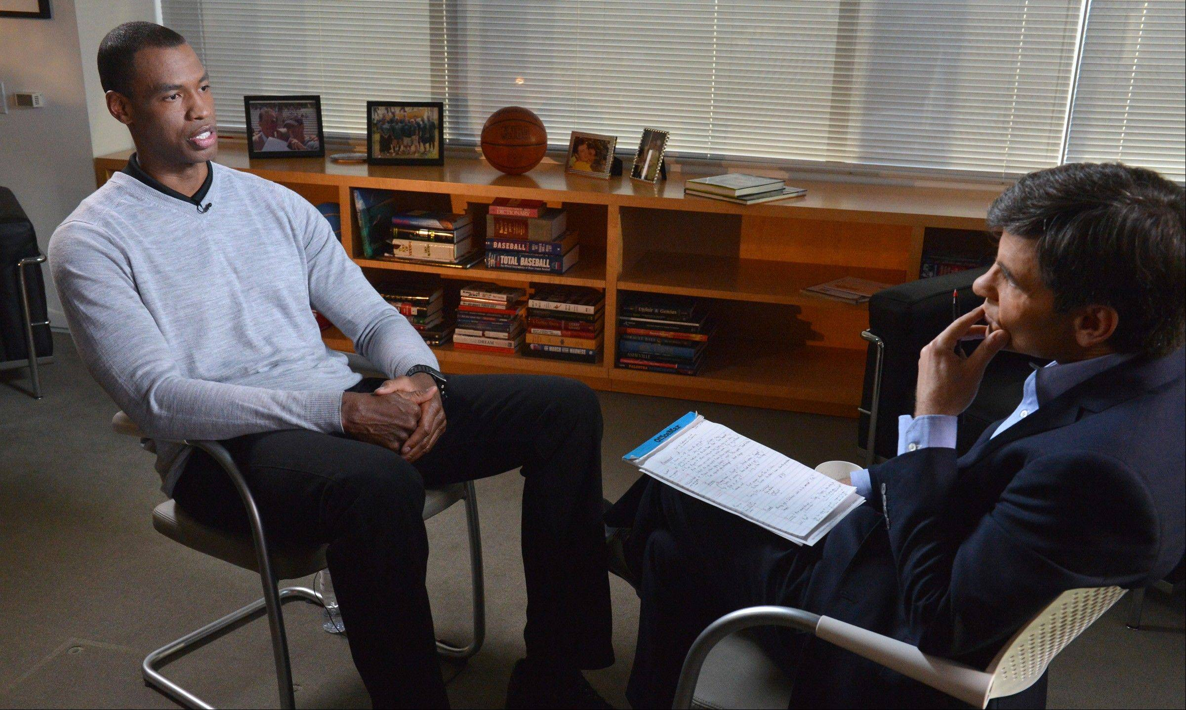 NBA basketball veteran Jason Collins, left, speaks during an interview with George Stephanopoulos on Monday in Los Ange