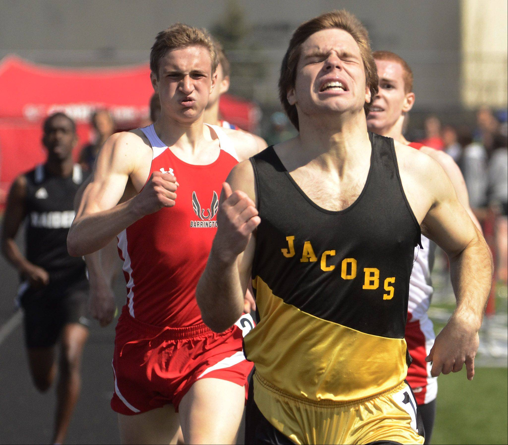 Nick Matysek of Jacobs winning the 800-meter run at the Palatine Relays.